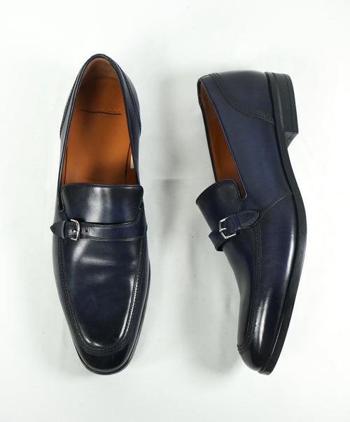 "BALLY - ""Lavoli"" Navy Hand Patina Buckle Loafers - 12"