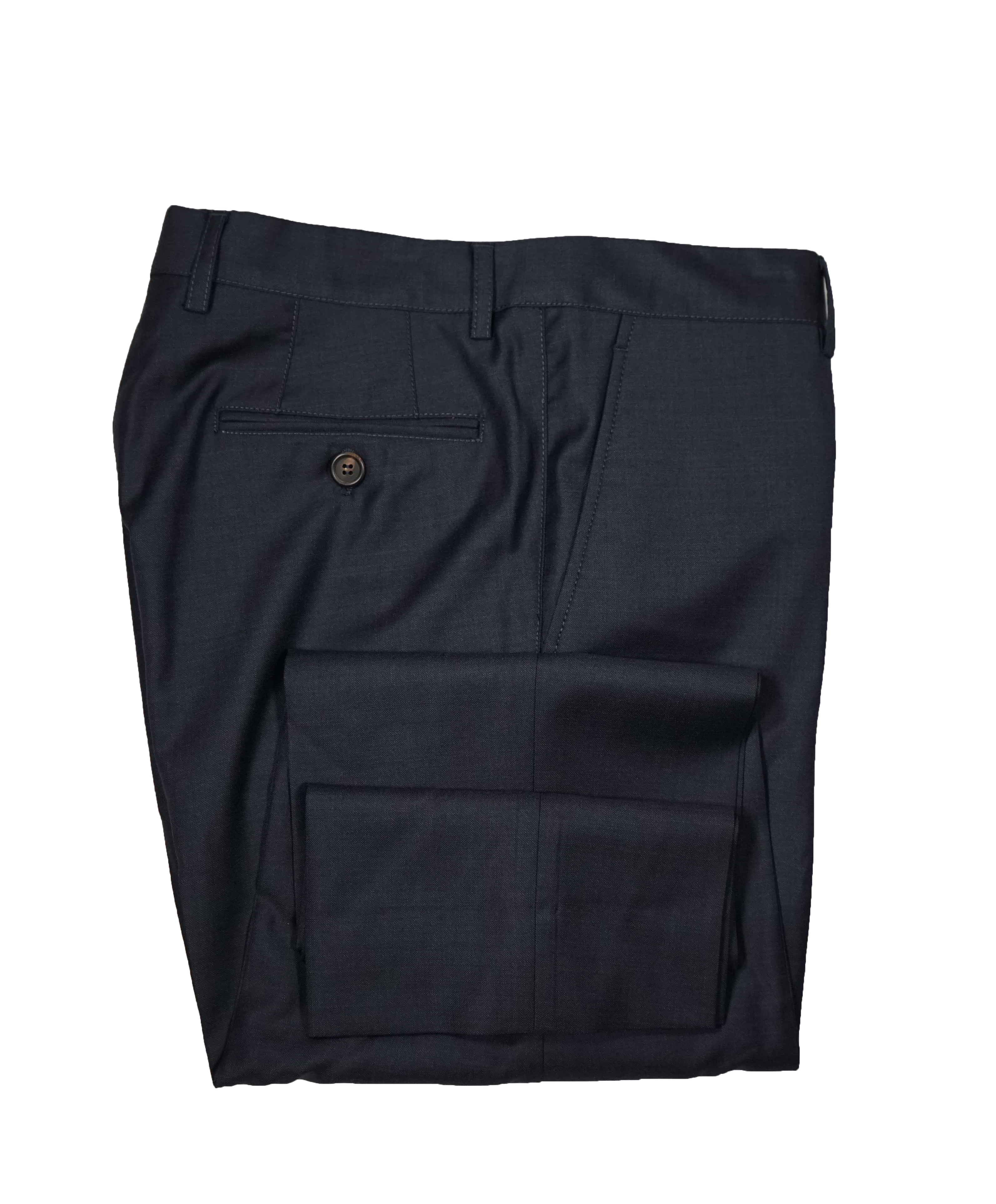 BRUNELLO CUCINELLI - Blue Flat Front Pants With Pick Stitching Detail - 34W