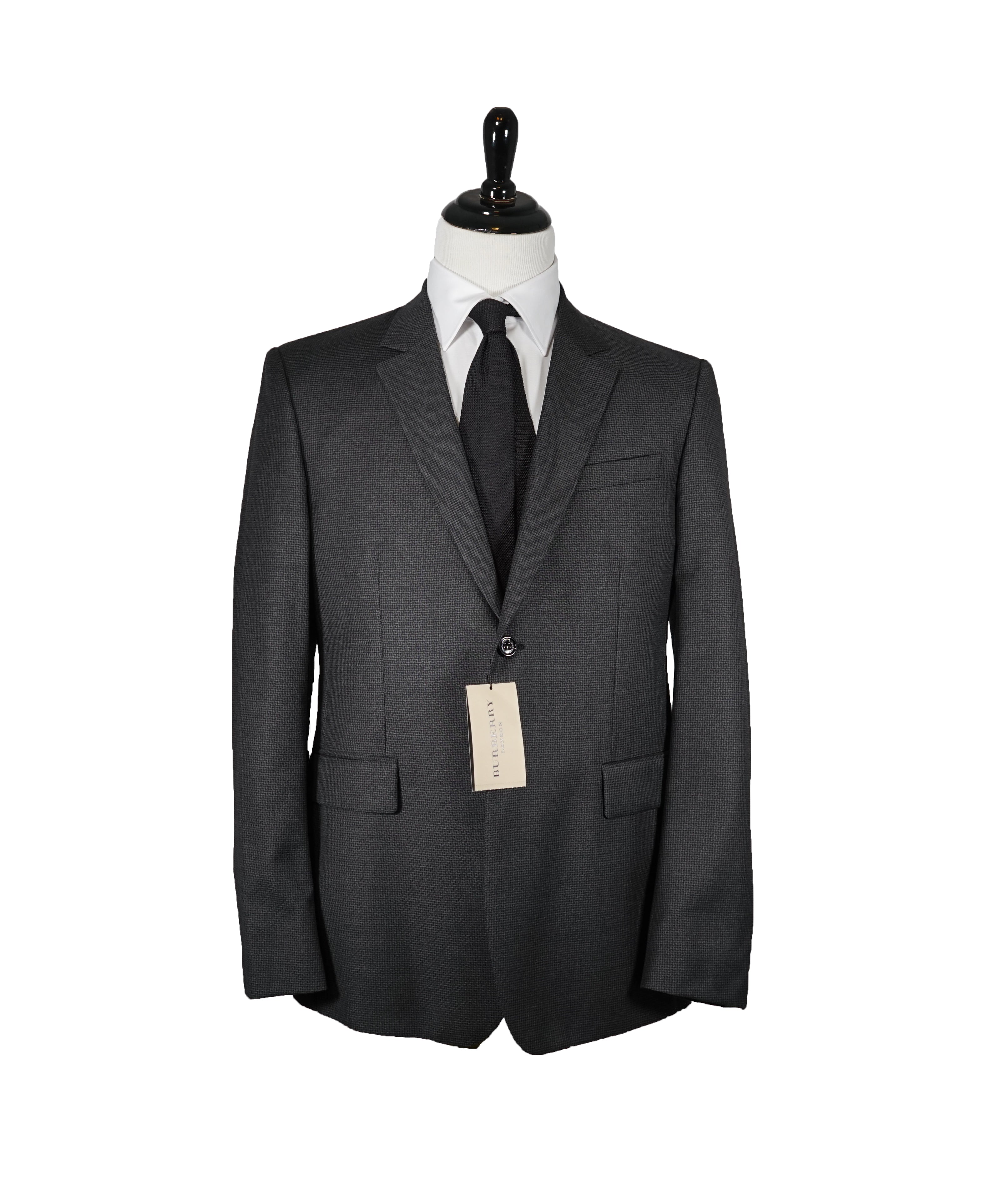 681660535854 BURBERRY LONDON - Houndstooth Gray Black Suit - 44R – Luxe Hanger