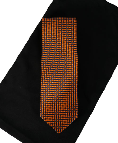 BRIONI -   Orange & Black Geometric Print Tie