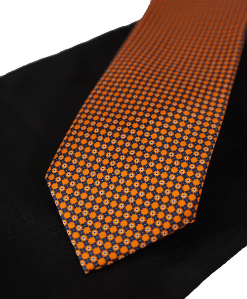 BRIONI   -   Orange  &  Black Geometric Print Tie TEST TEST