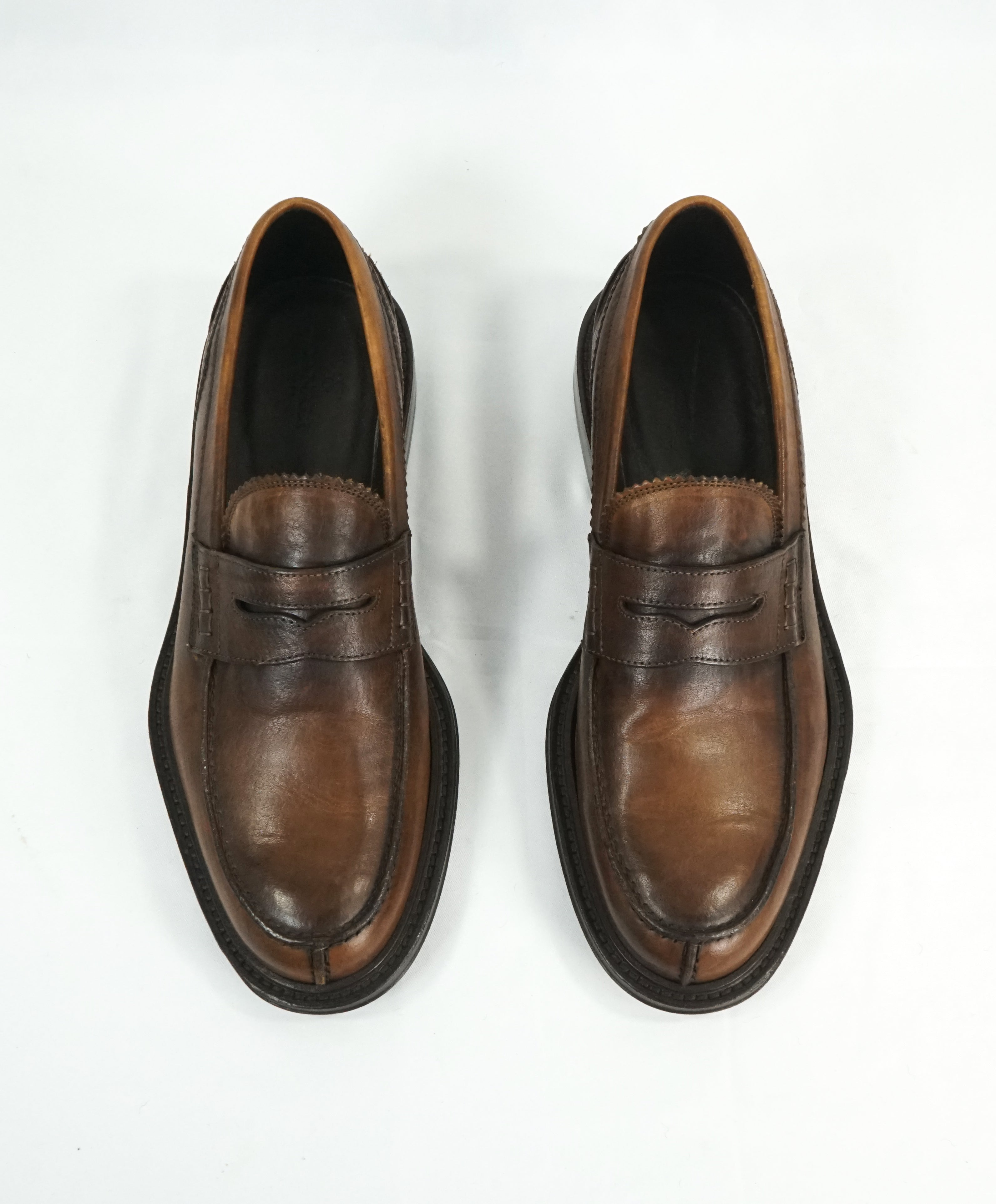 CANALI -  Hand Stitched Classic Leather Penny Loafers - 9