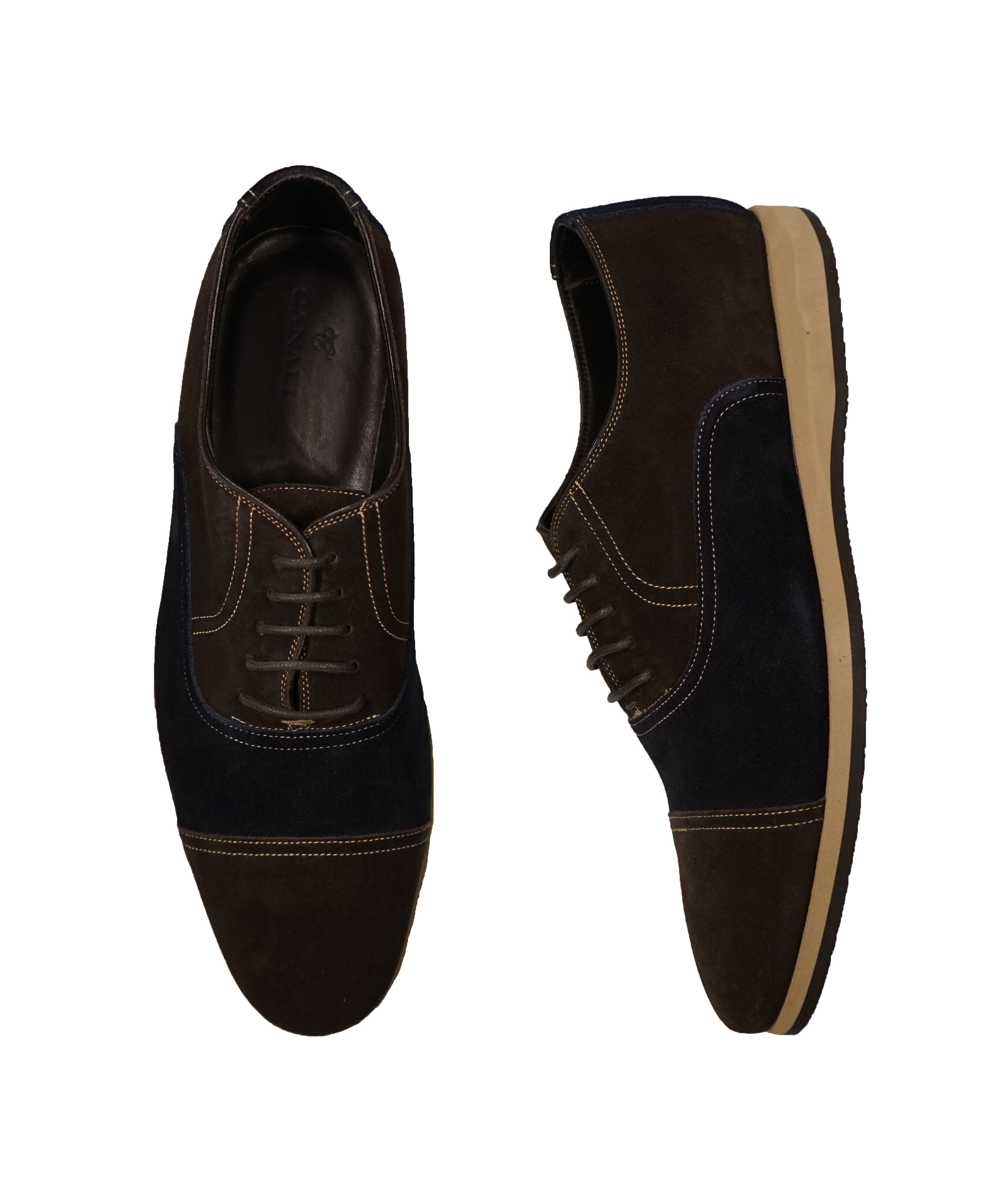 CANALI - BiColor Blue & Brown Suede Oxfords - 9