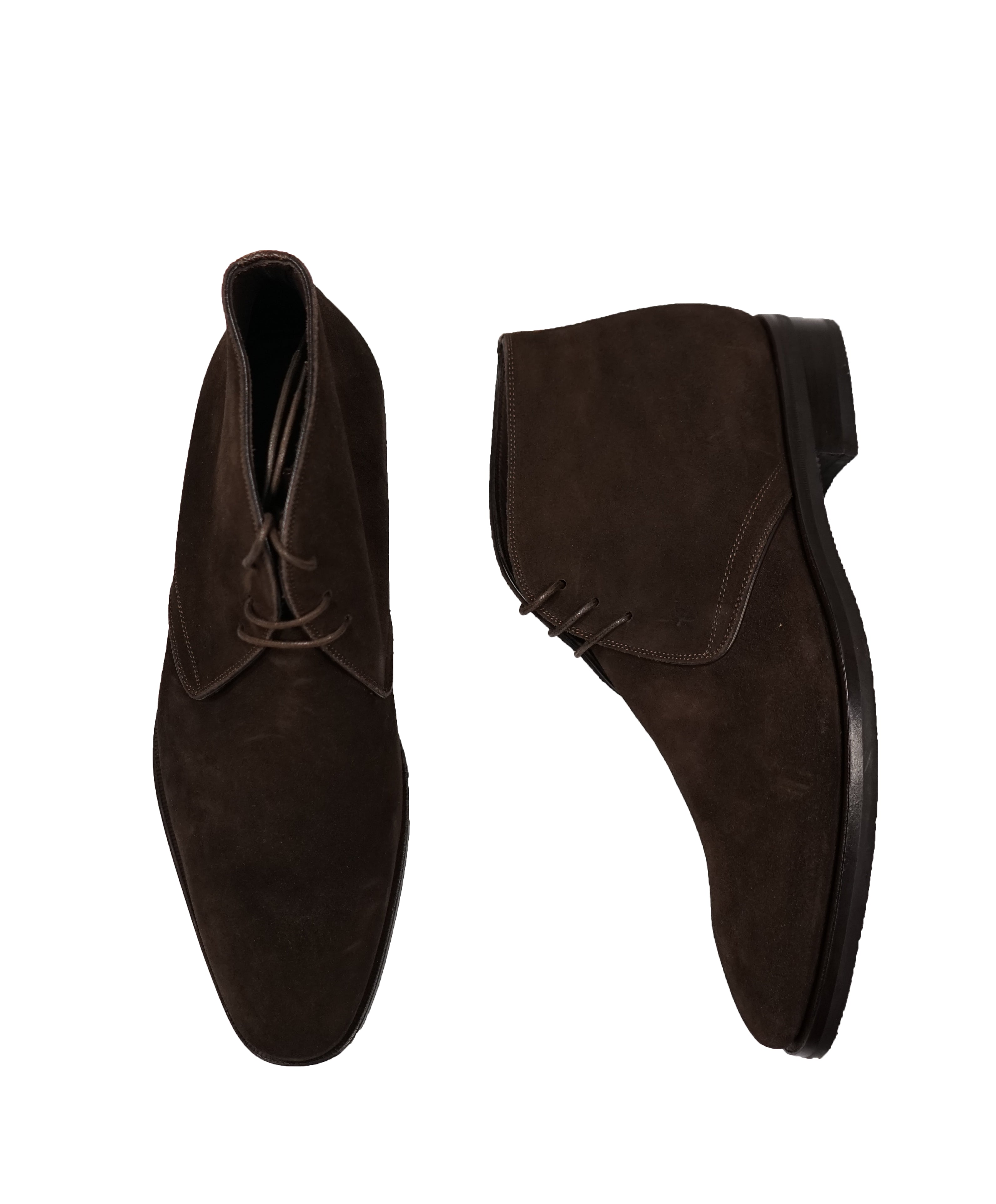 CANALI - Brown Suede Lace-Up Ankle Boots - 11