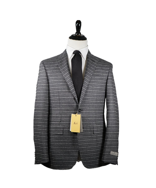 "CANALI - ""KEI"" Slim Unstructured  Horizontal Striped Gray Suit - 40R"
