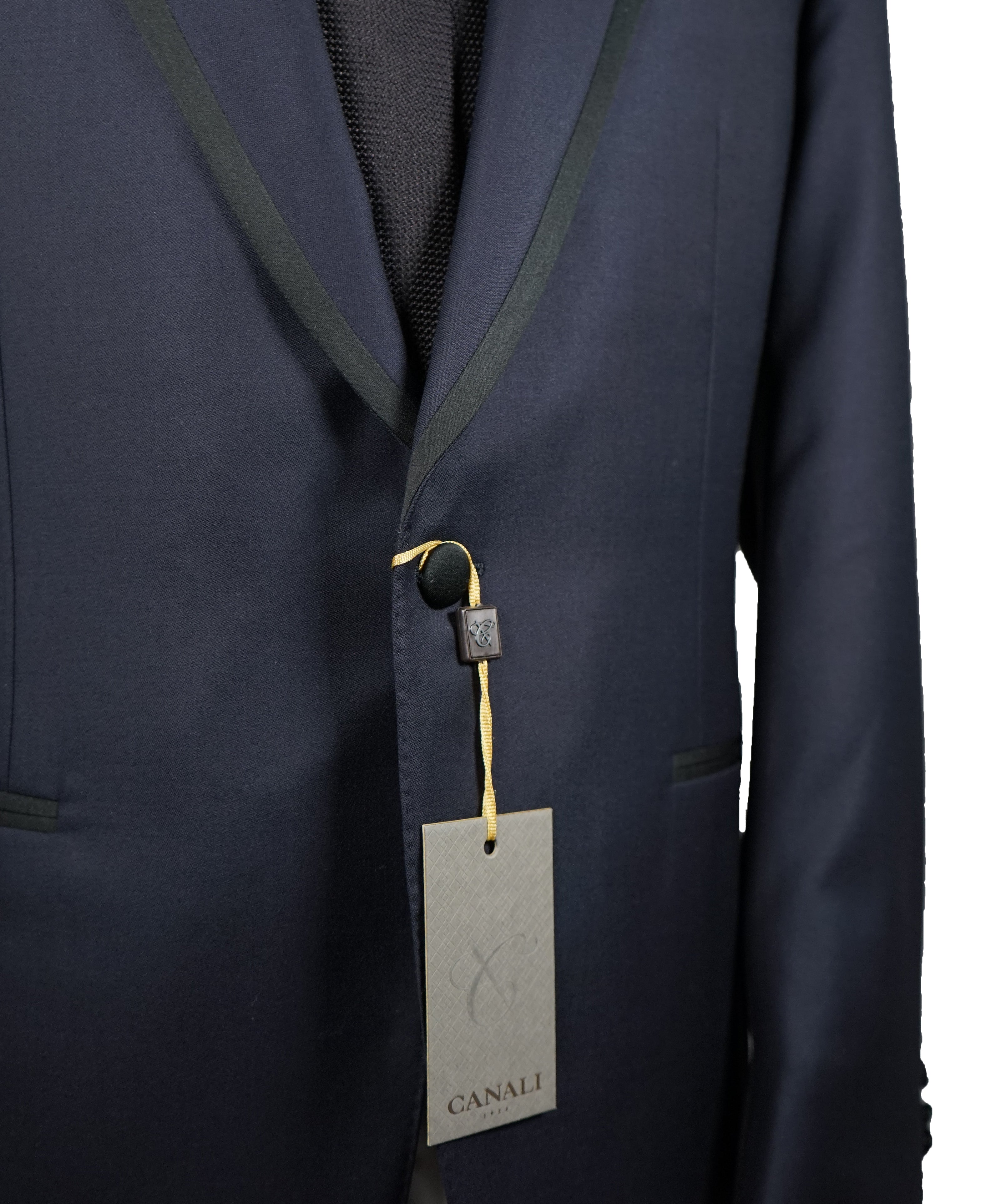 "CANALI - Rare Navy Blue Tipped Tuxedo Suit ""Water Resistant"" Collection - 44R"