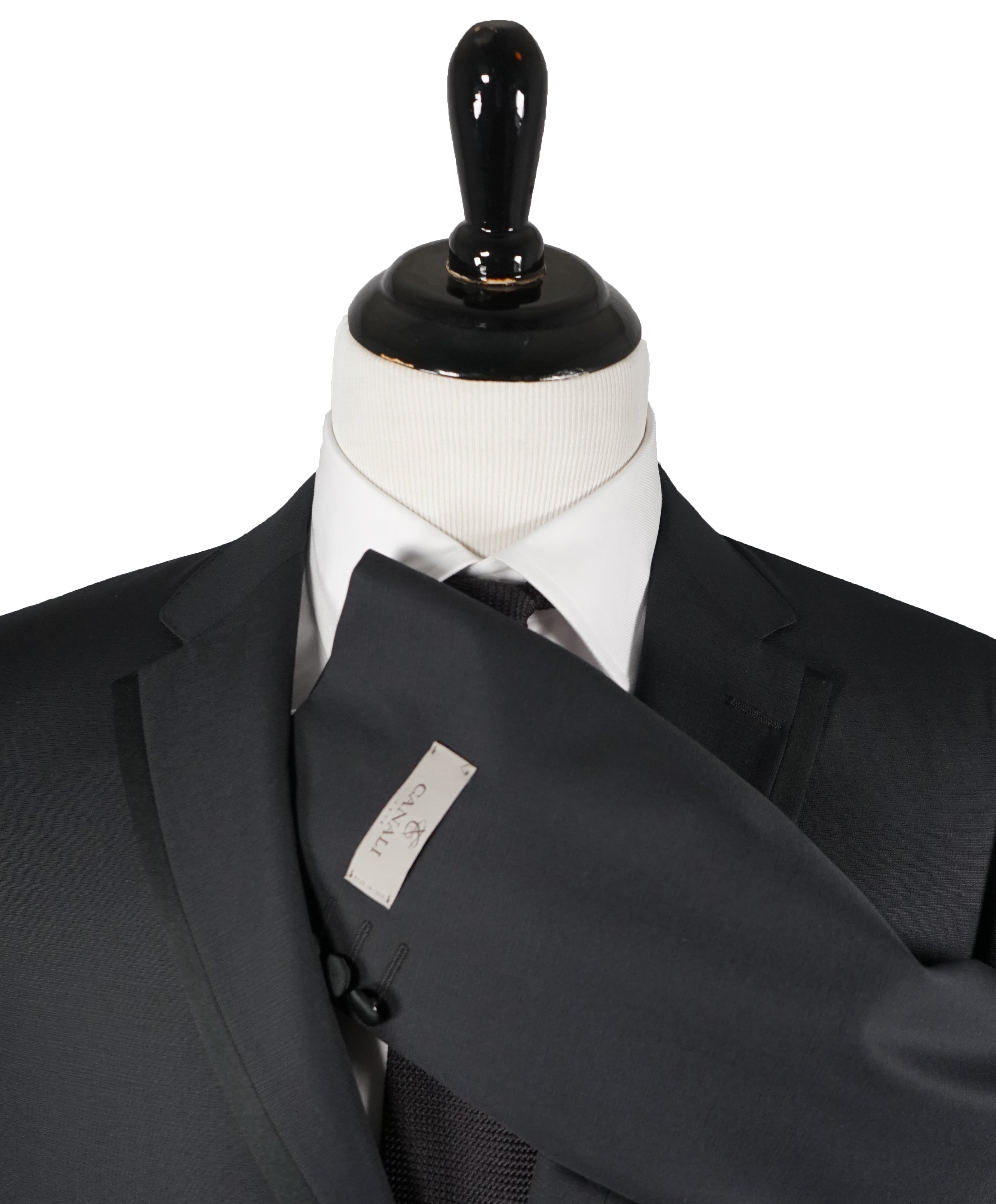 CANALI - Tonal Textured Weave Black Tipped Tuxedo Suit - 44R