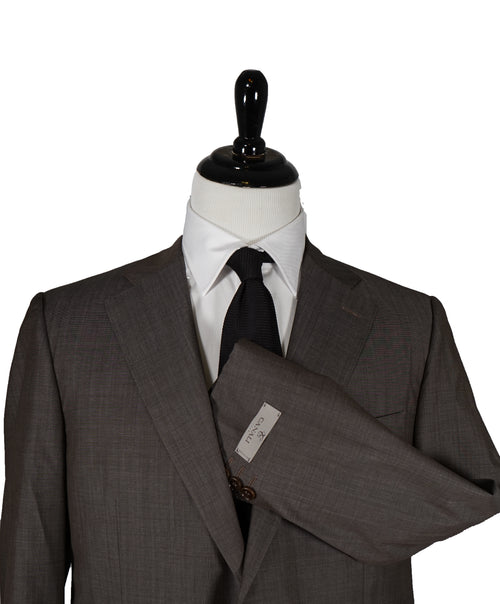 CANALI - Travel Collection Brown Birdseye Suit Partially Lined - 44R