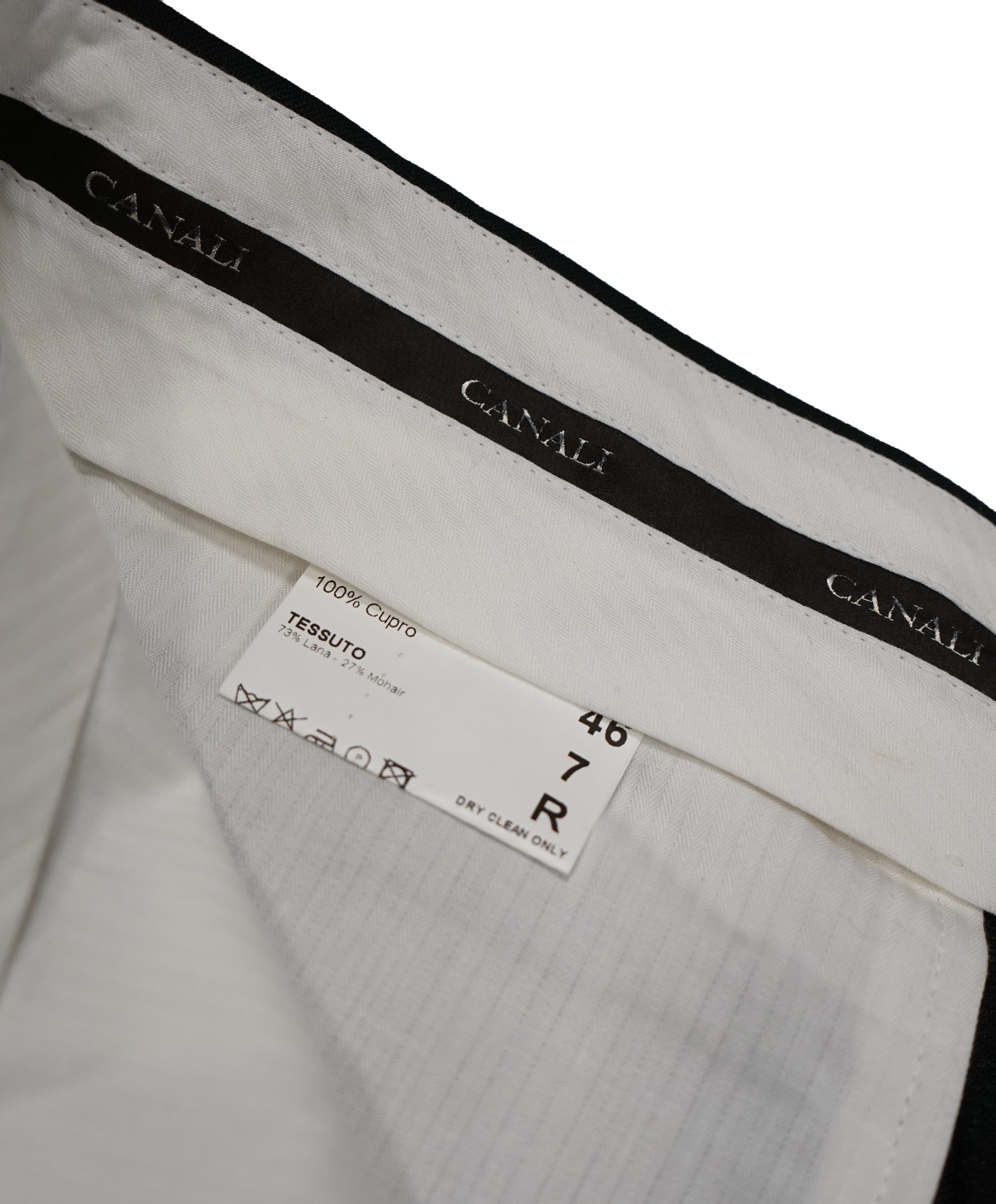 CANALI - Wool & Mohair Black Tuxedo Dinner Pants - 30W
