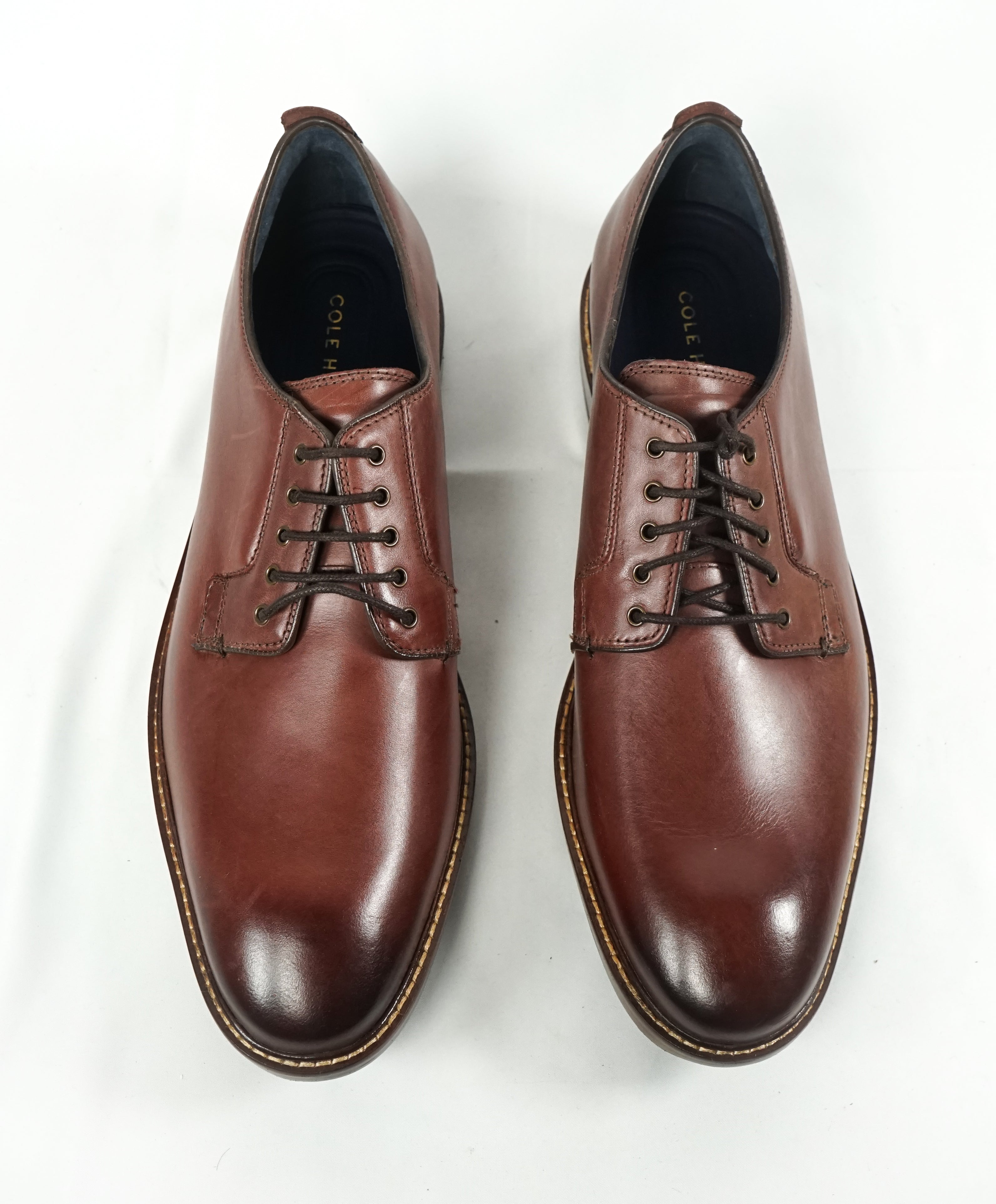 "COLE HAAN - Metal Eyelet Brown Burnished Tip Oxfords ""Grand OS"" - 12"