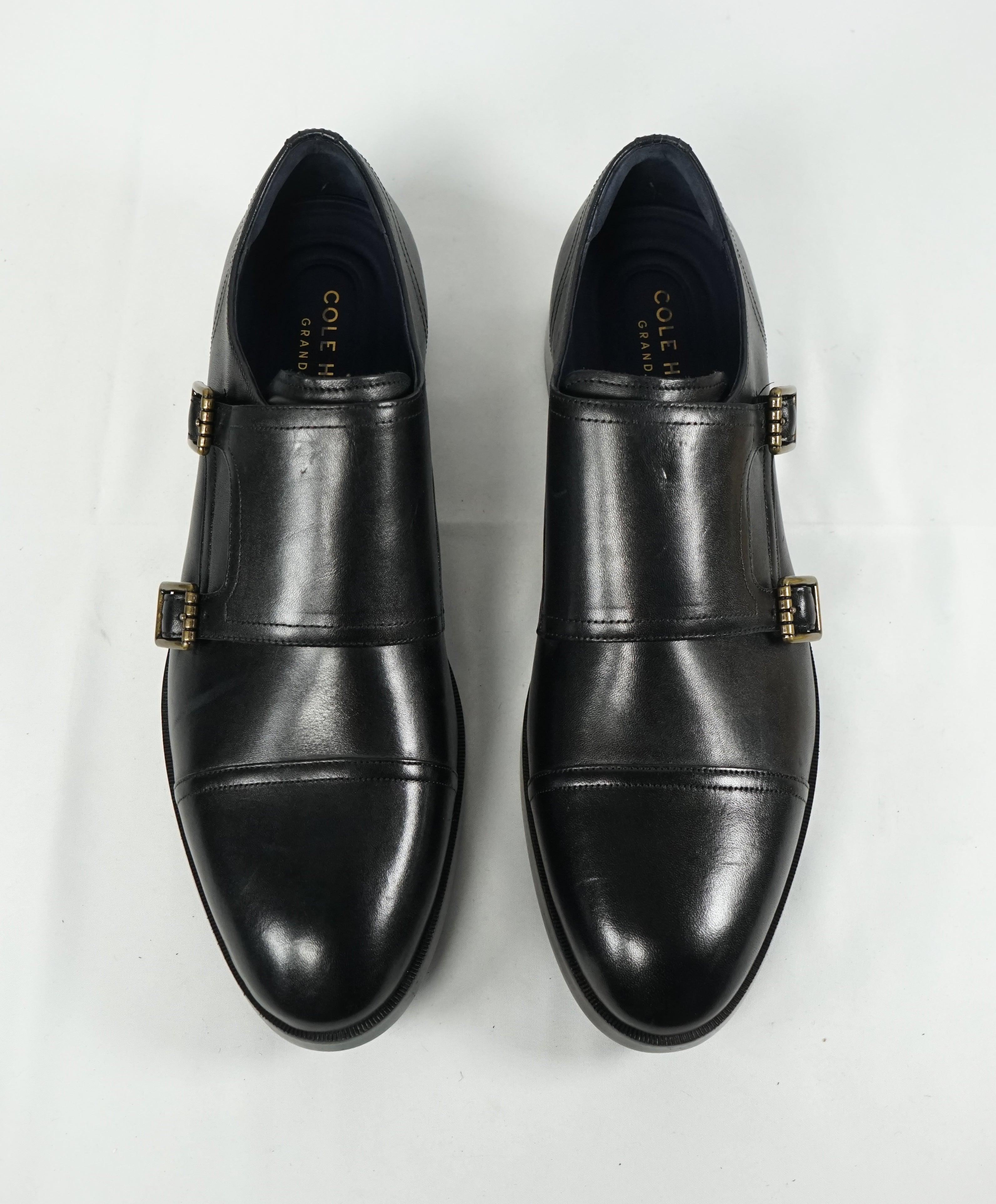 "COLE HAAN - ""Henry"" Black Cap Toe Double Monk Strap Loafers ""Grand OS"" - 10.5"