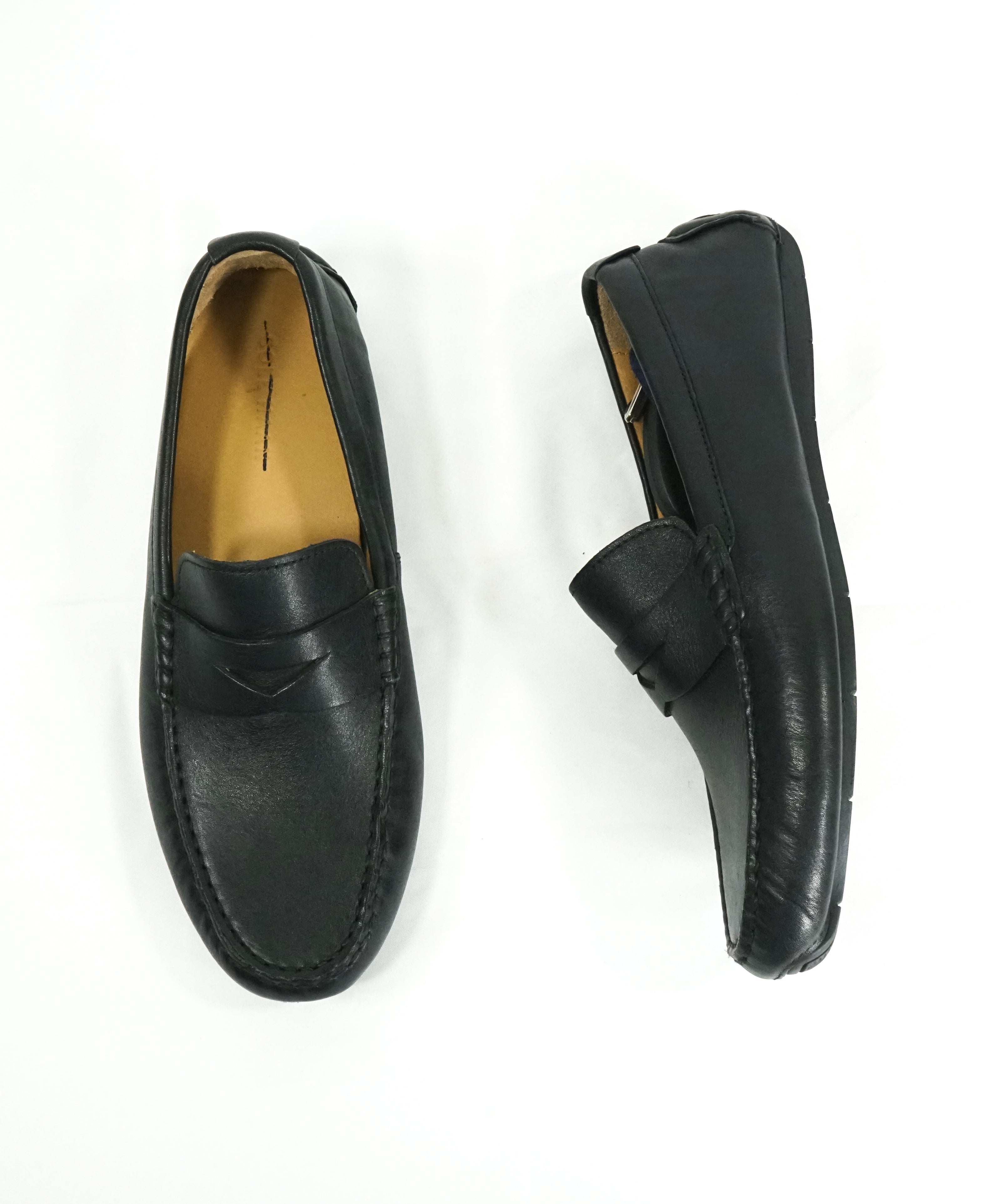 "COLE HAAN - ""Kelson"" Black Padded Insole Penny Loafers - 8"