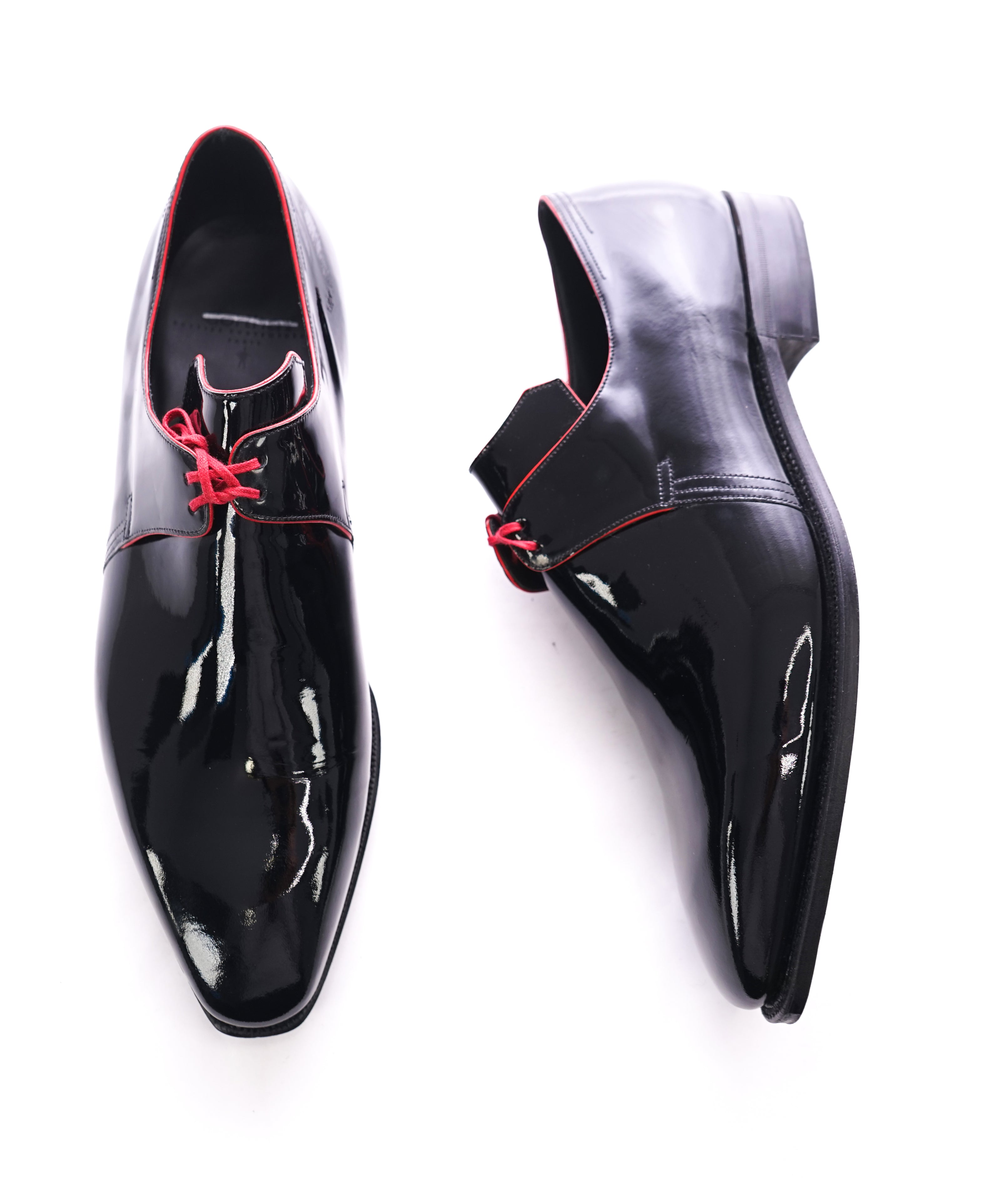 "CORTHAY - ""Arca"" Pullman Patent Leather Red Piped Derby Shoes - 10.5"