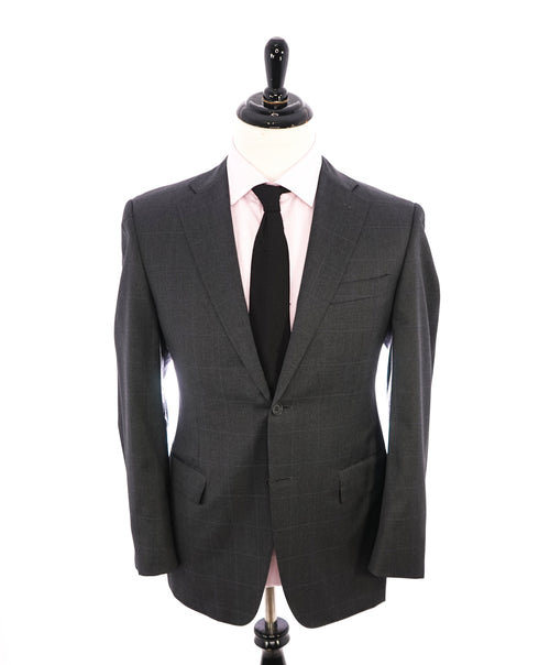 CANALI - Gray Charcoal * Blue Windowpane * Notch Lapel Iconic Suit - 38R