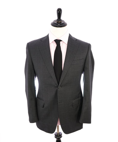 "ISAIA - Gray Windowpane CORAL PIN 120's ""Nuova Base S"" Suit  - 44R"