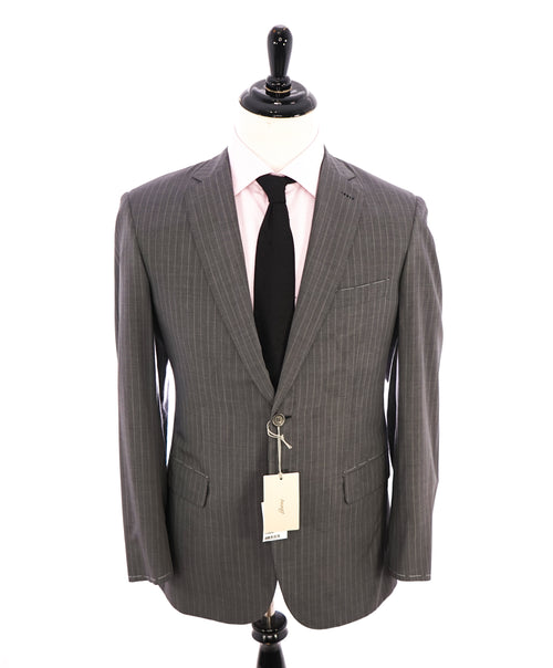 BRIONI - Gray Chalk Stripe SILK / WOOL Suit Hand Made In Italy - 40R