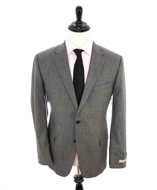 HICKEY FREEMAN - Gray Textured Check Plaid Notch Lapel Suit - 44R