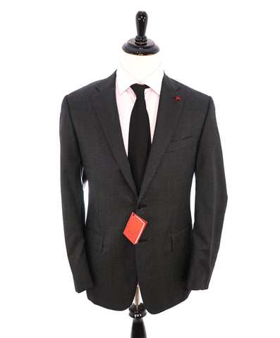 "SAKS FIFTH AVENUE - ""Trim Fit"" Gray Birdseye Textured Suit - 36S"