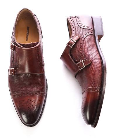 99ebdcb2d399 MAGNANNI - Textured Cap-Toe Brogue Brown Double Monk Strap Loafers - 10.5