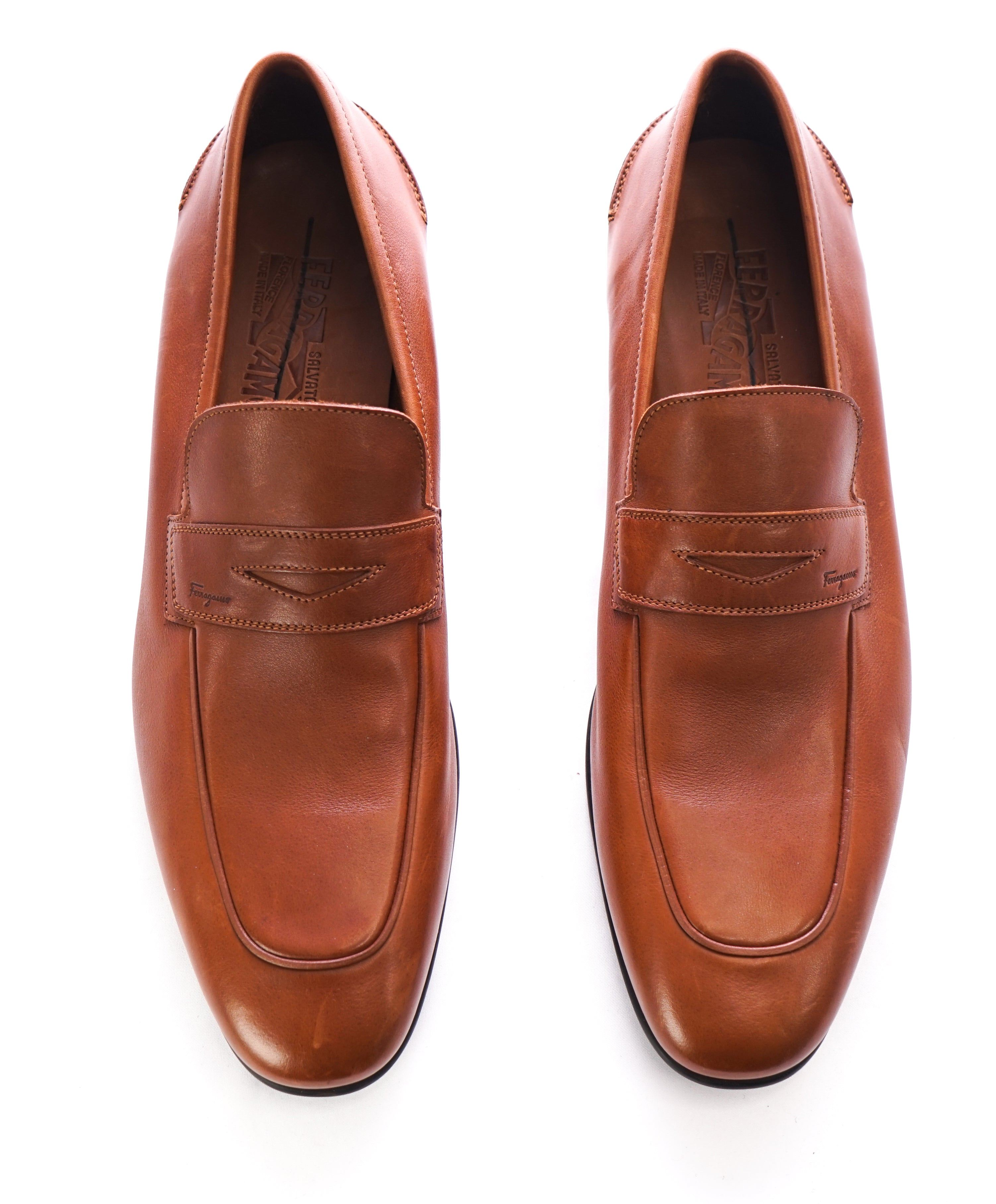 SALVATORE FERRAGAMO - Supple Leather Brown Penny Loafers Sleek Silhouette - 11.5 D