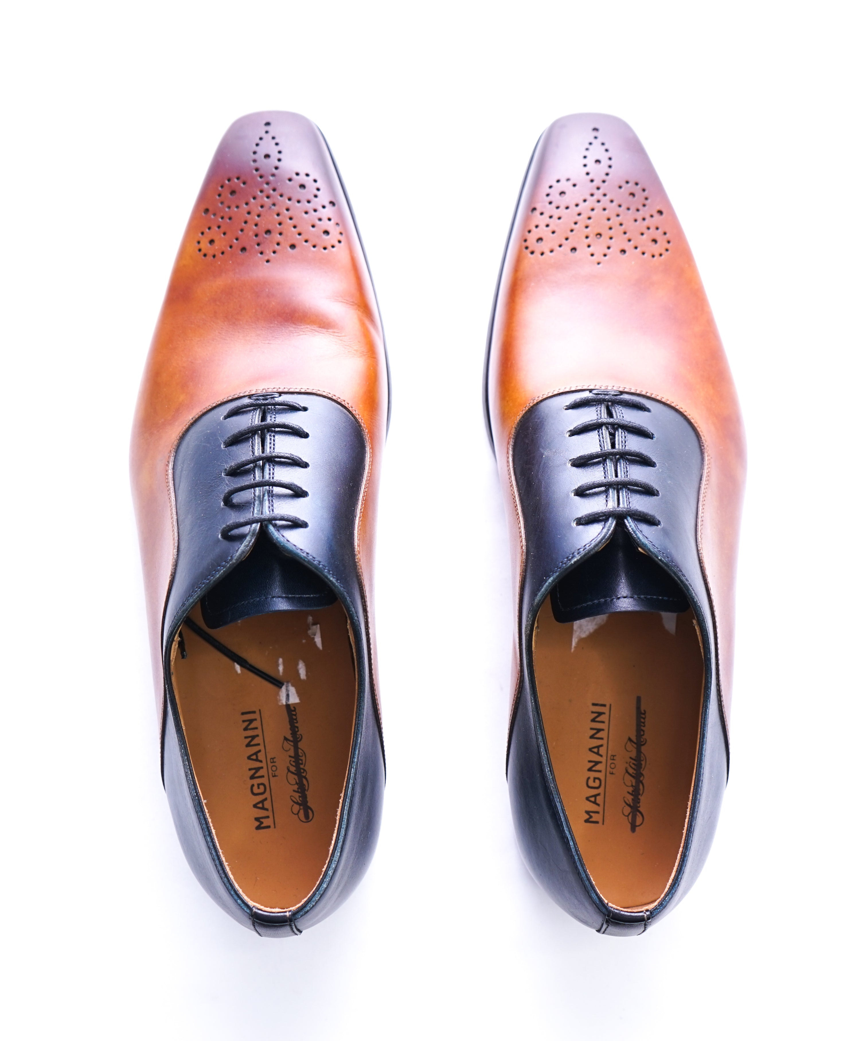MAGNANNI - Slim Silhouette Detailed Brown & Navy Bi-Color Oxfords -  8