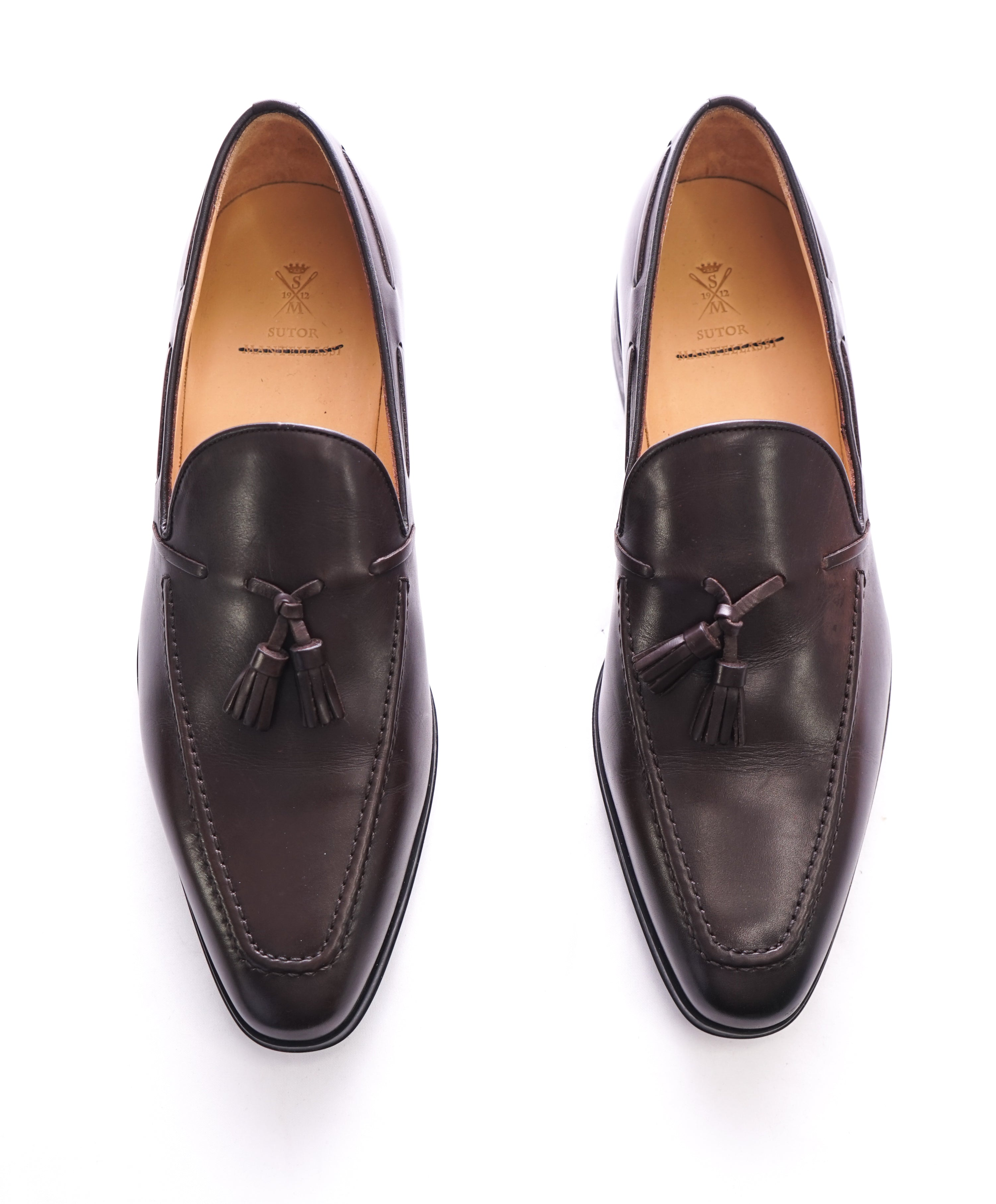 SUTOR MANTELLASSI - Brown Slim Silhouette Tassel Loafers  - 9 US