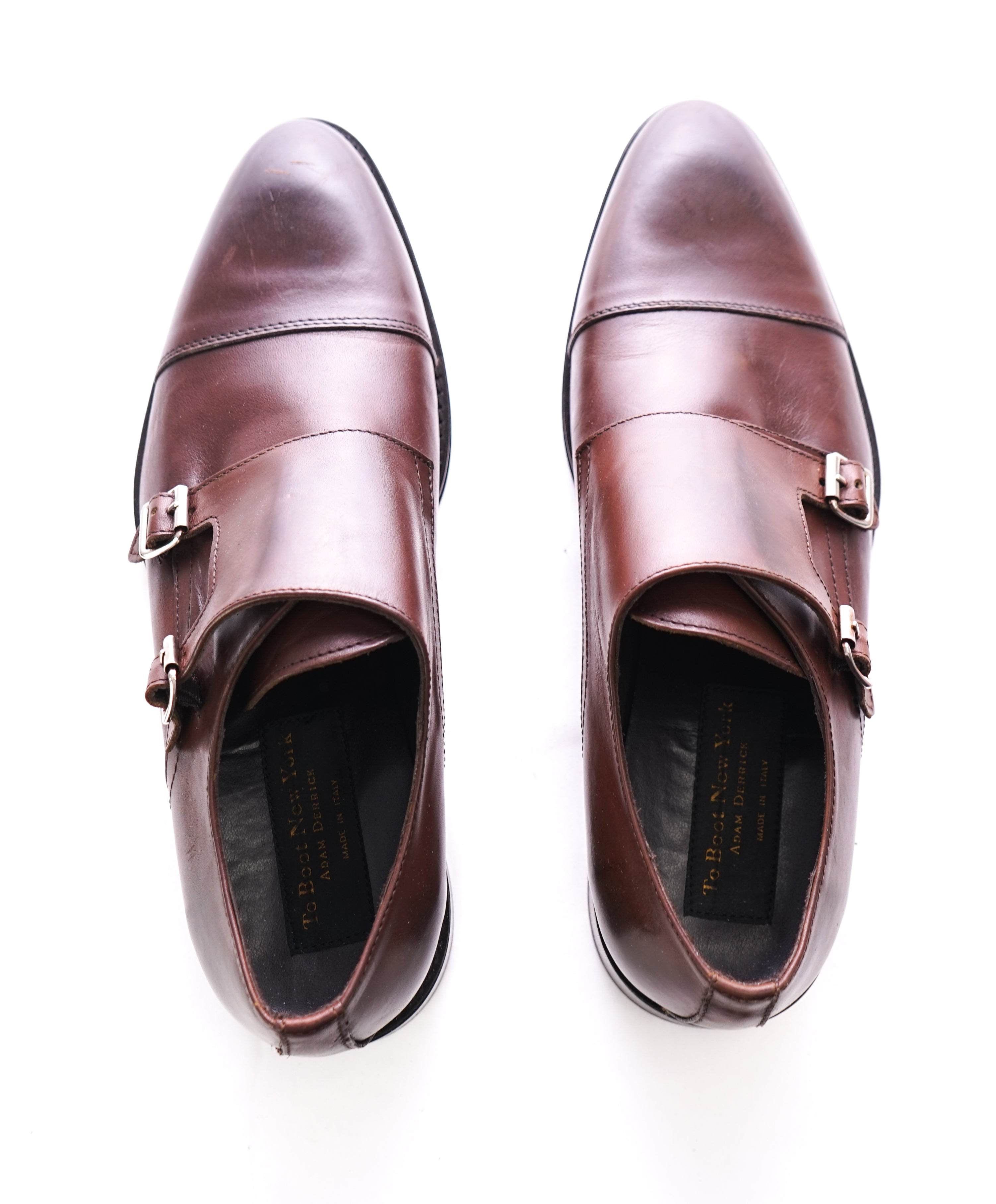 TO BOOT NEW YORK - Dark Brown Double Monk Strap Cap Toe Loafers - 10.5