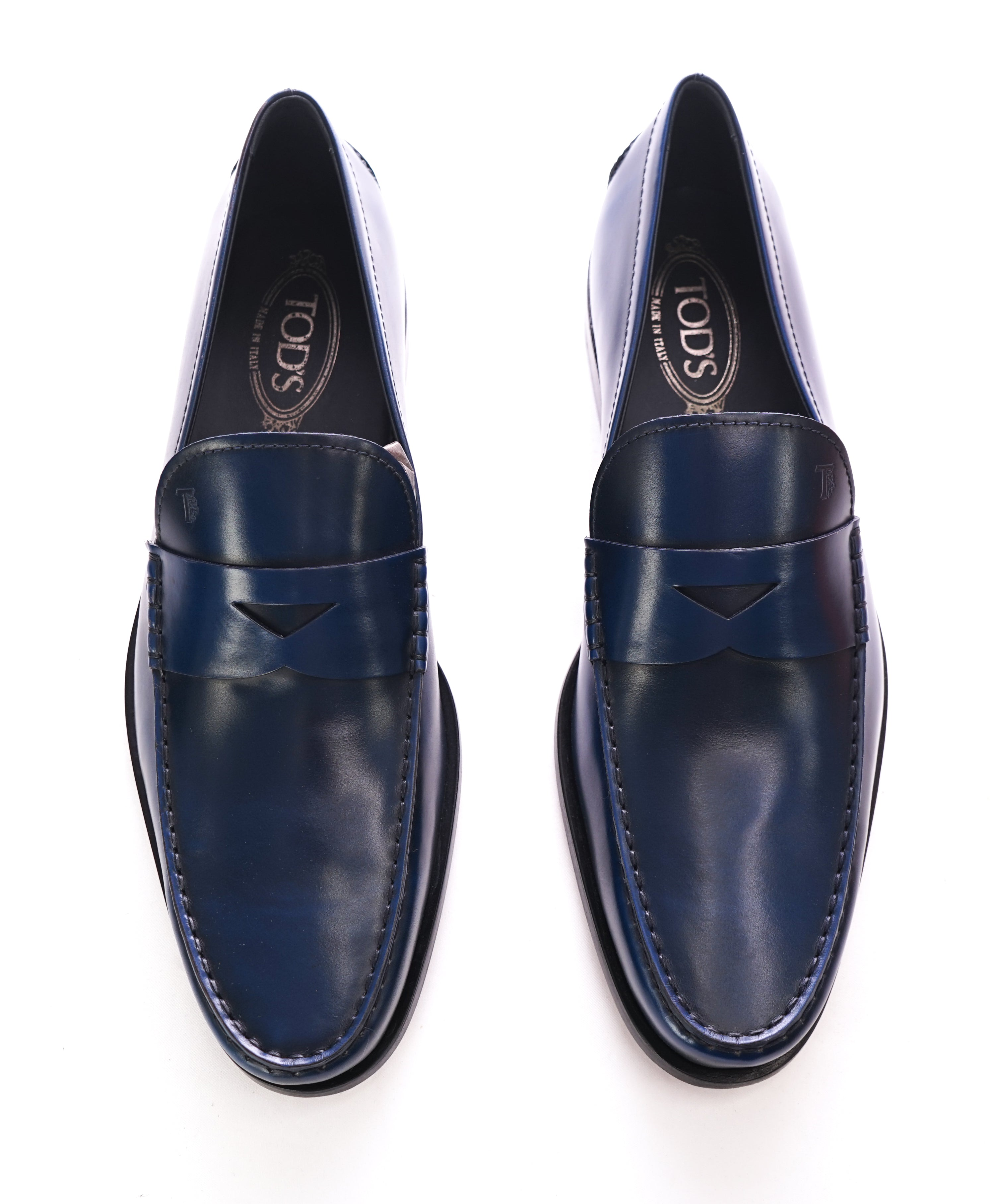 "c57dd575564 TOD S - Blue Leather Penny Loafers ""Boston Devon"" Leather Sole - 10.5US"