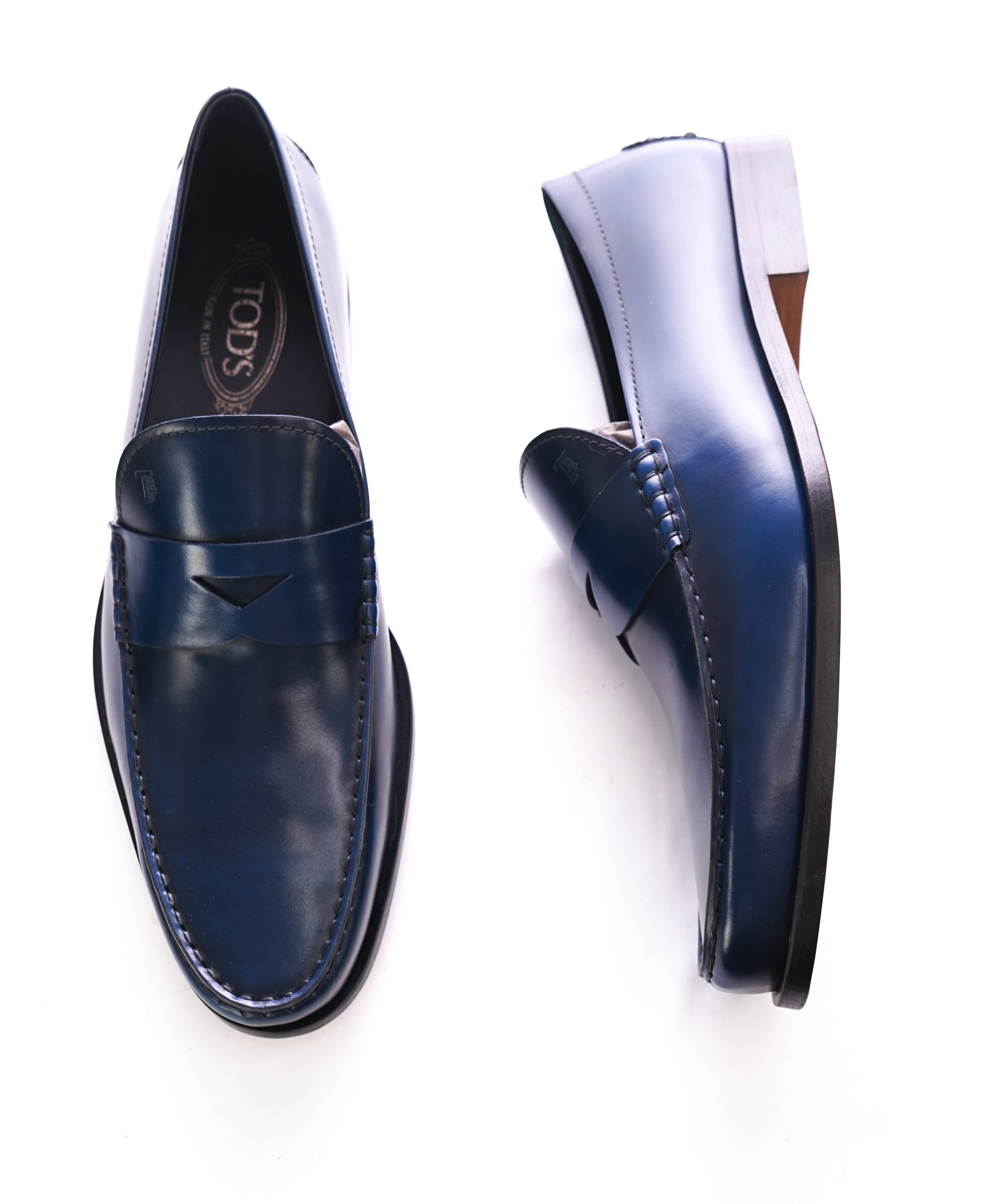 "3ef856e3209 TOD S - Blue Leather Penny Loafers ""Boston Devon"" Leather Sole - 11.5US"