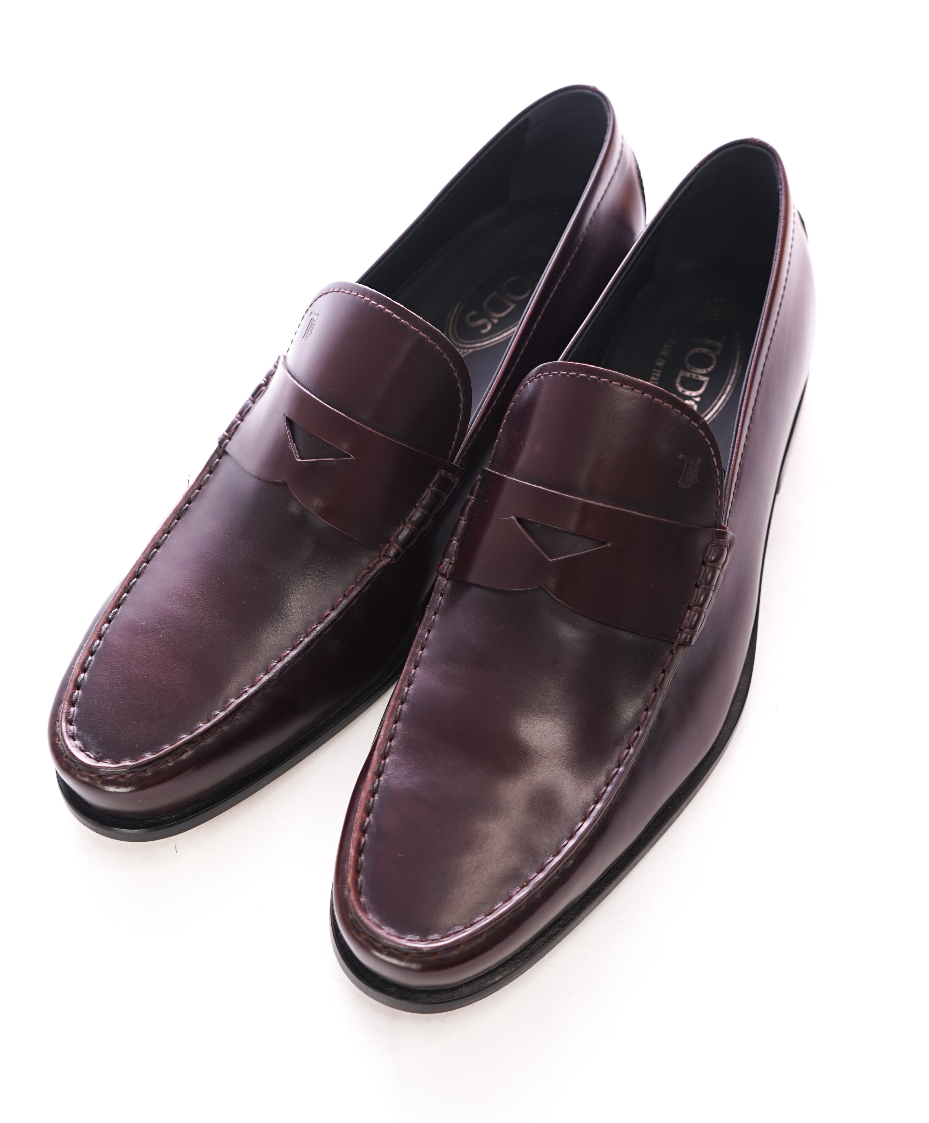 "TOD'S - Burgundy Oxblood Penny Loafers ""Boston /Devon"" Leather Sole - 12US"