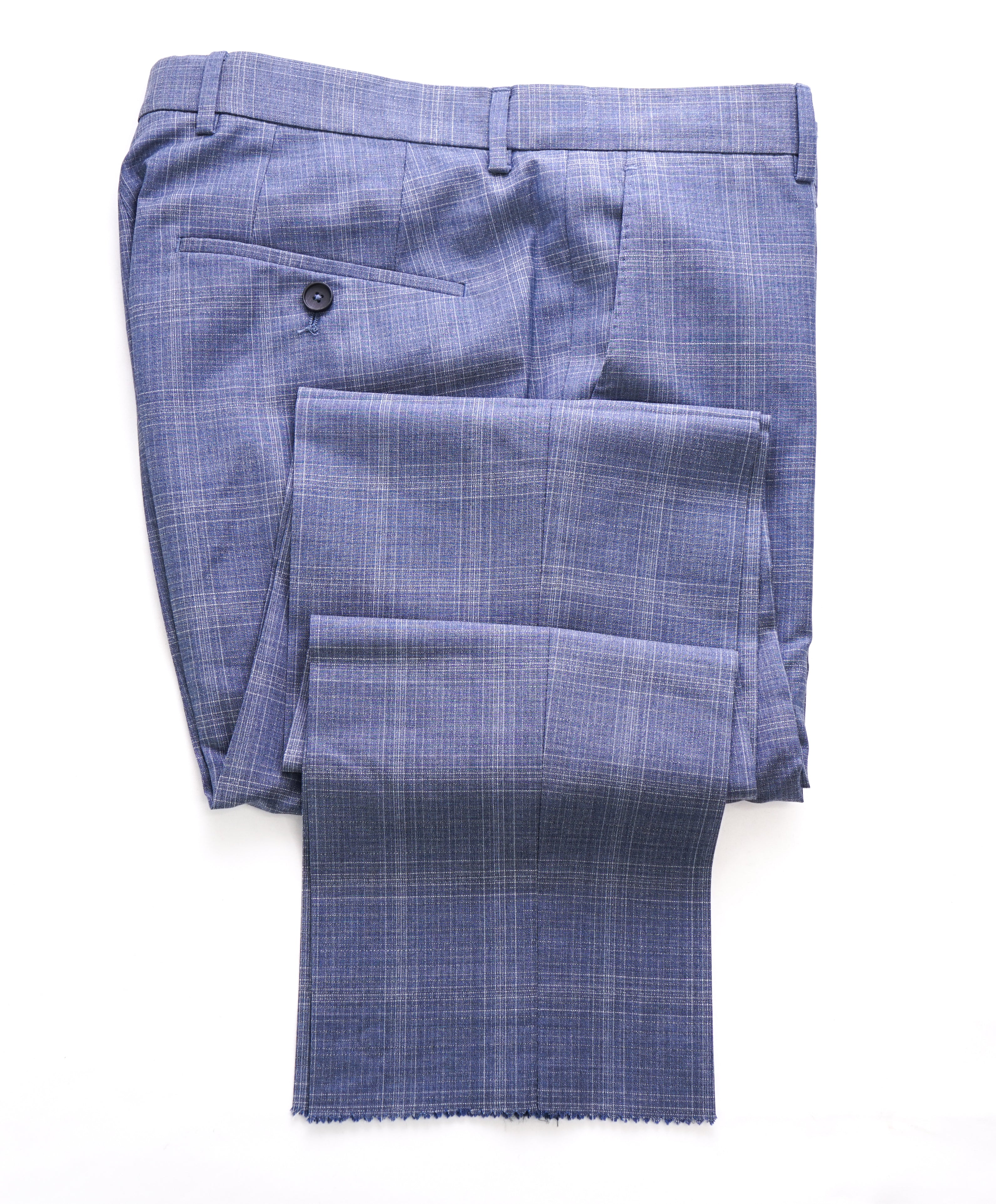"HUGO BOSS - Powder Blue Plaid ""Novan4/Ben2"" Flat Front Dress Pants - 31W"
