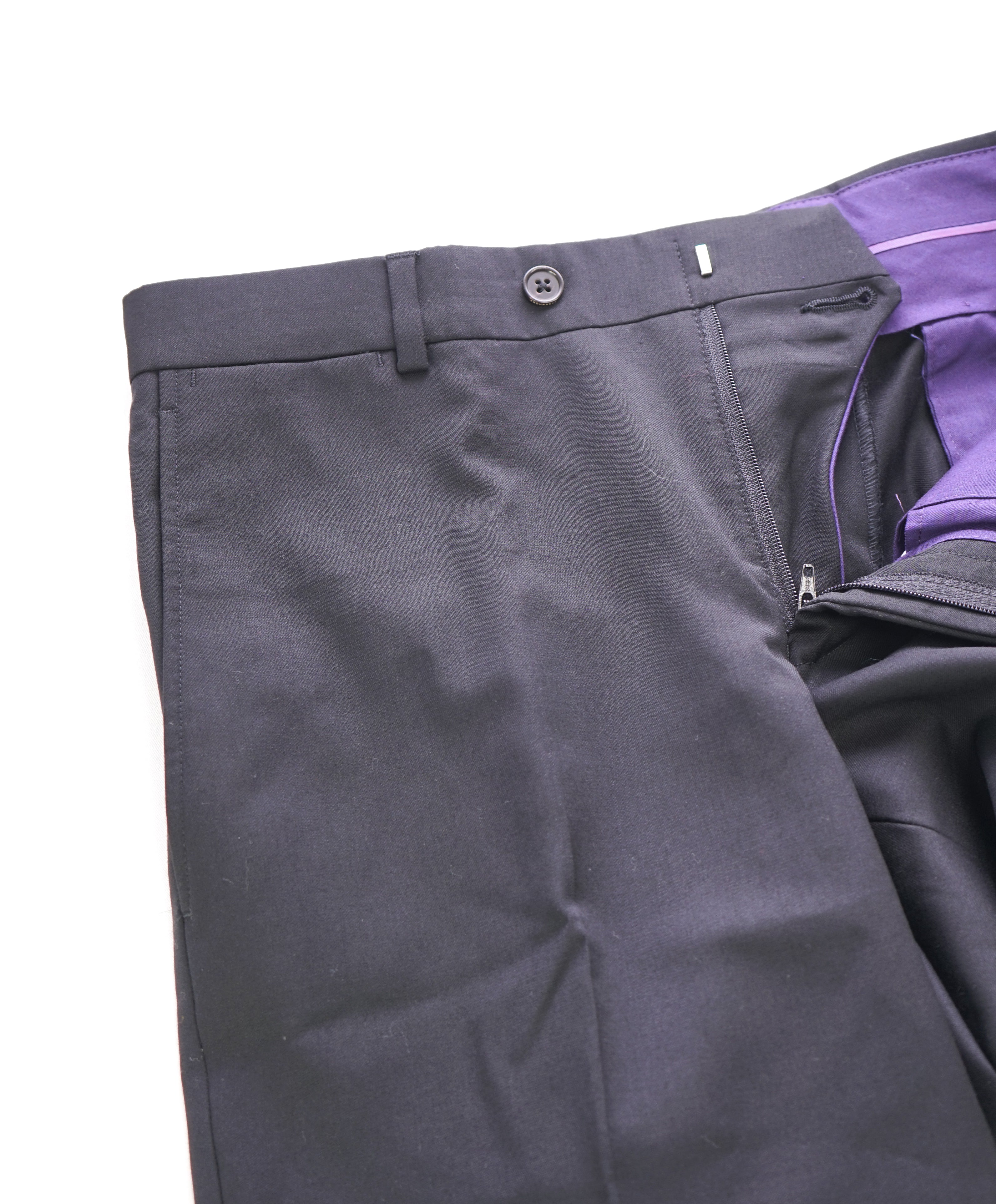 TED BAKER - Solid Black Wool Flat Front Dress Pants - 33W