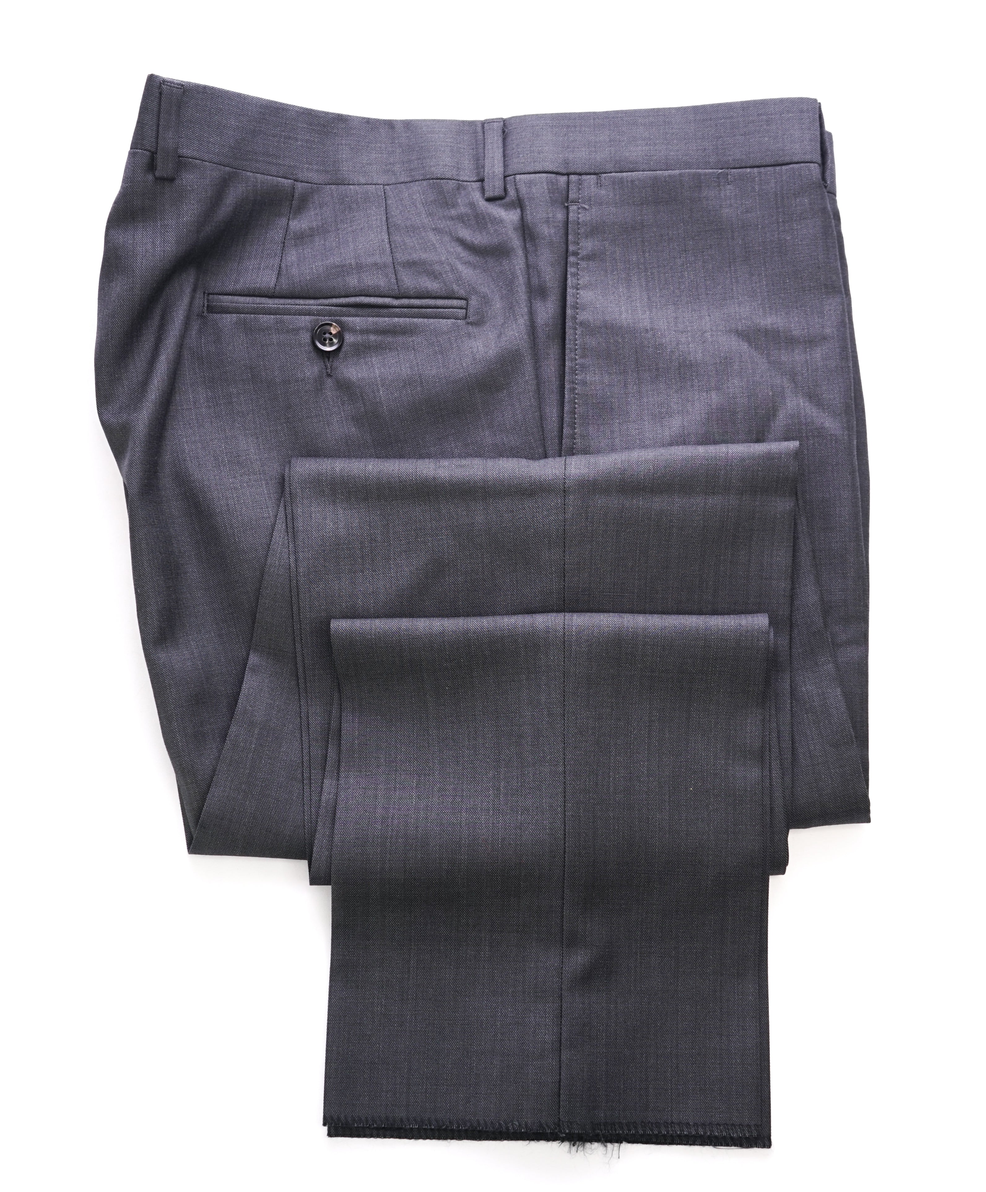 TED BAKER - Solid Charcoal Wool Flat Front Dress Pants - 37W