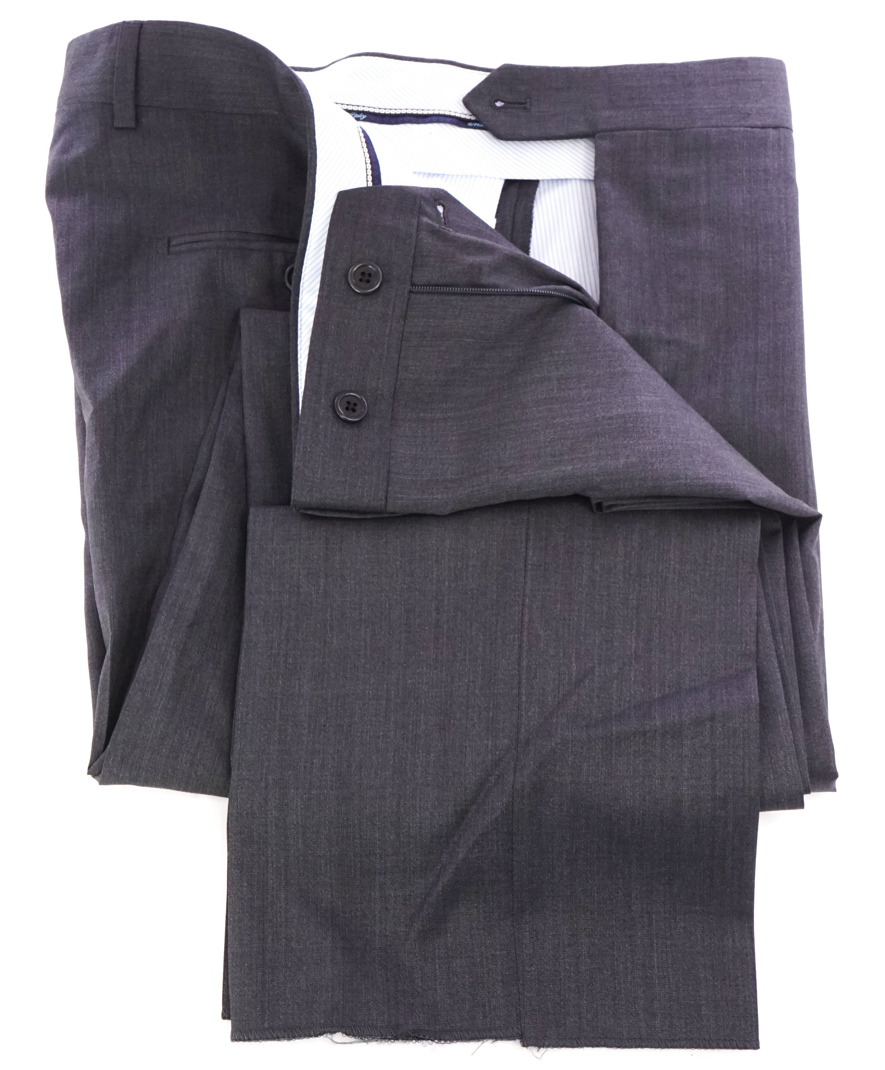 SAKS FIFTH AVE -Charcoal Wool & Silk MADE IN ITALY Flat Front Dress Pants -  42W