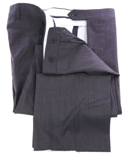 SAKS FIFTH AVE -Charcoal Wool & Silk MADE IN ITALY Flat Front Dress Pants -42W
