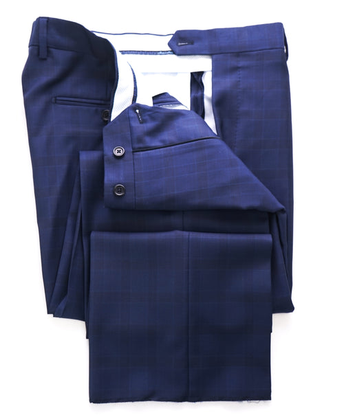 SAKS FIFTH AVE - Blue Glen Plaid Check MADE IN ITALY Flat Front Dress Pants - 34W