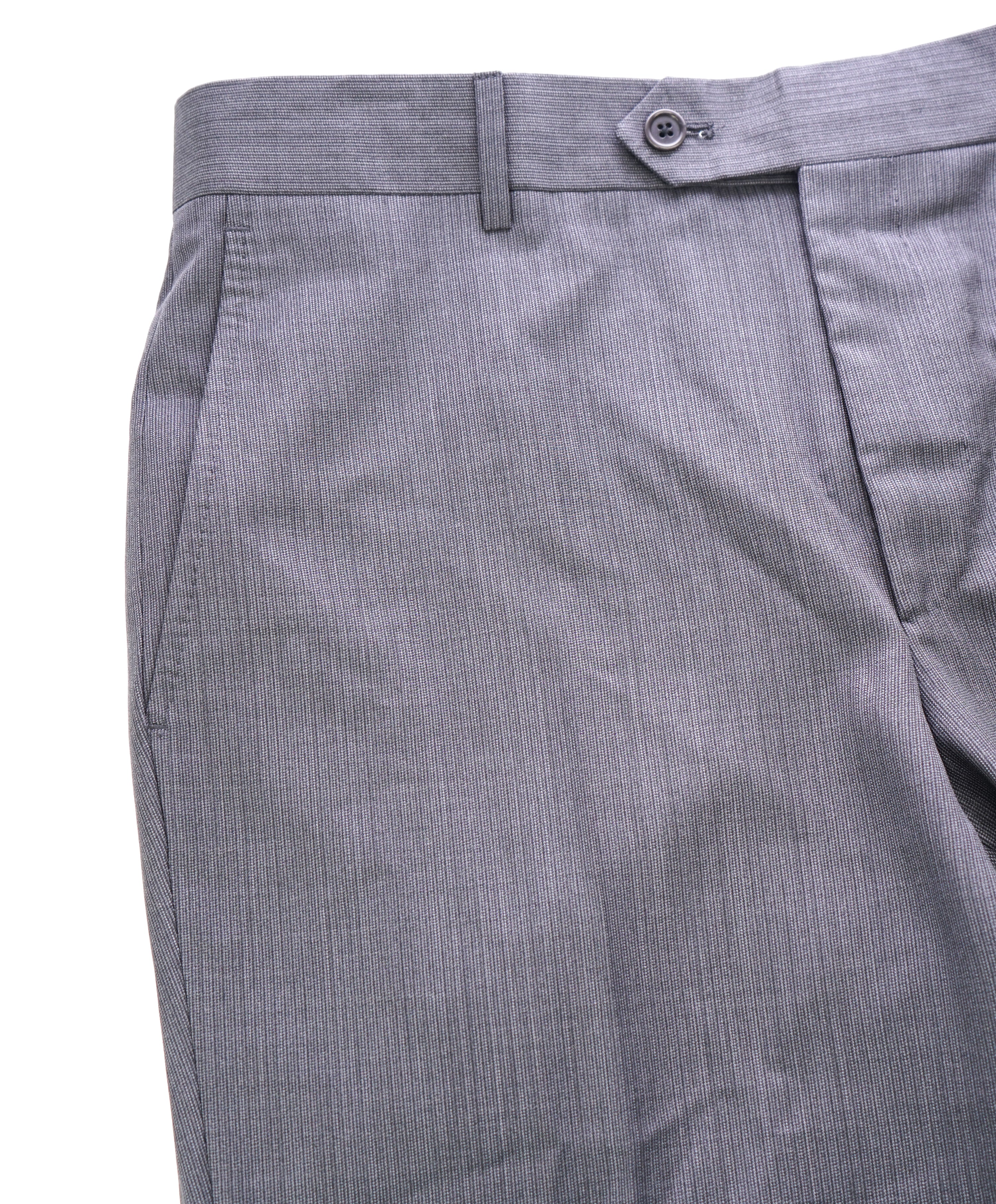 SAKS FIFTH AVE - Micro Herringbone Gray MADE IN ITALY Flat Front Dress Pants - 34W