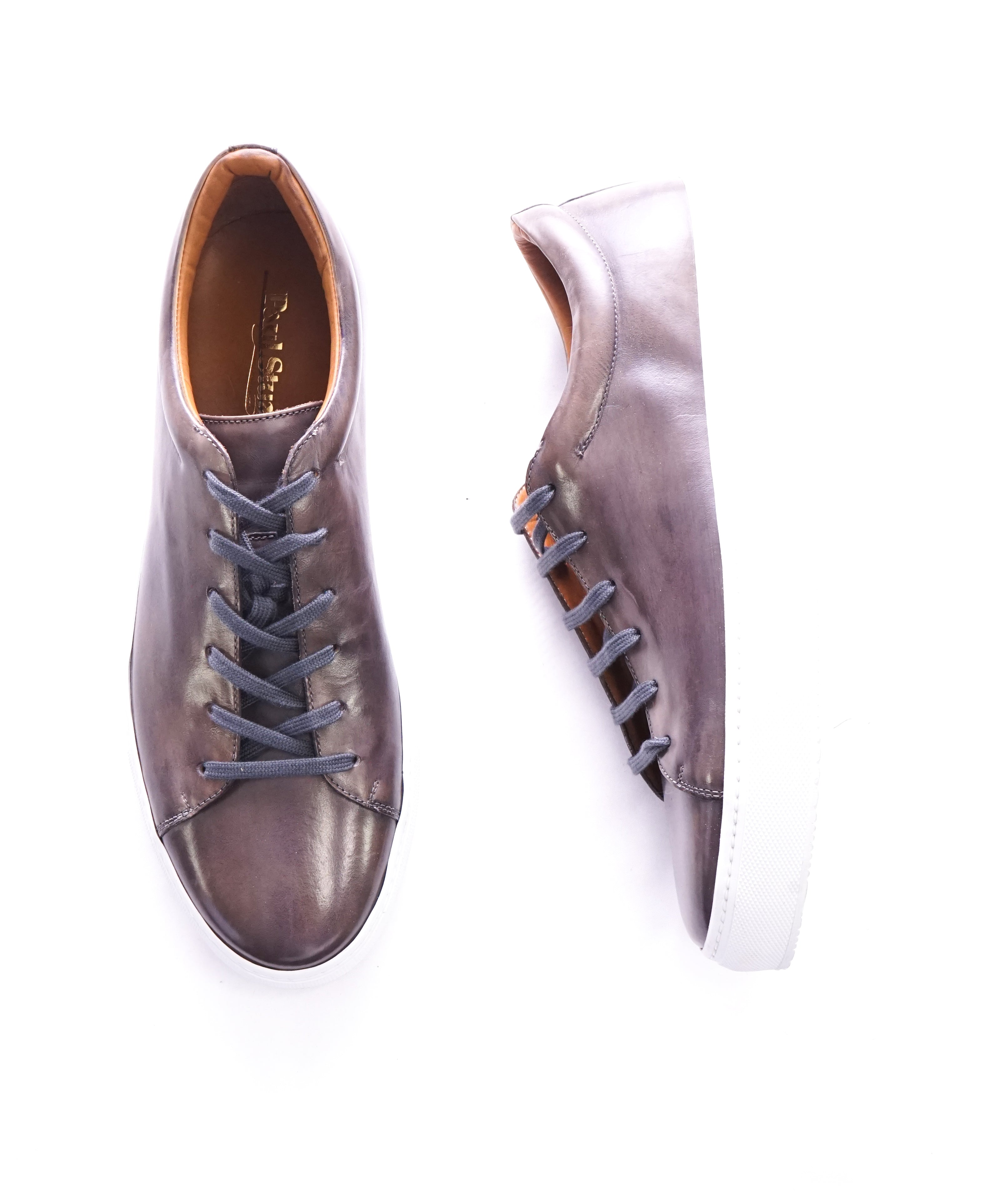 PAUL STUART - HAND MADE IN ITALY Patina Premium Leather Sneakers - 10.5
