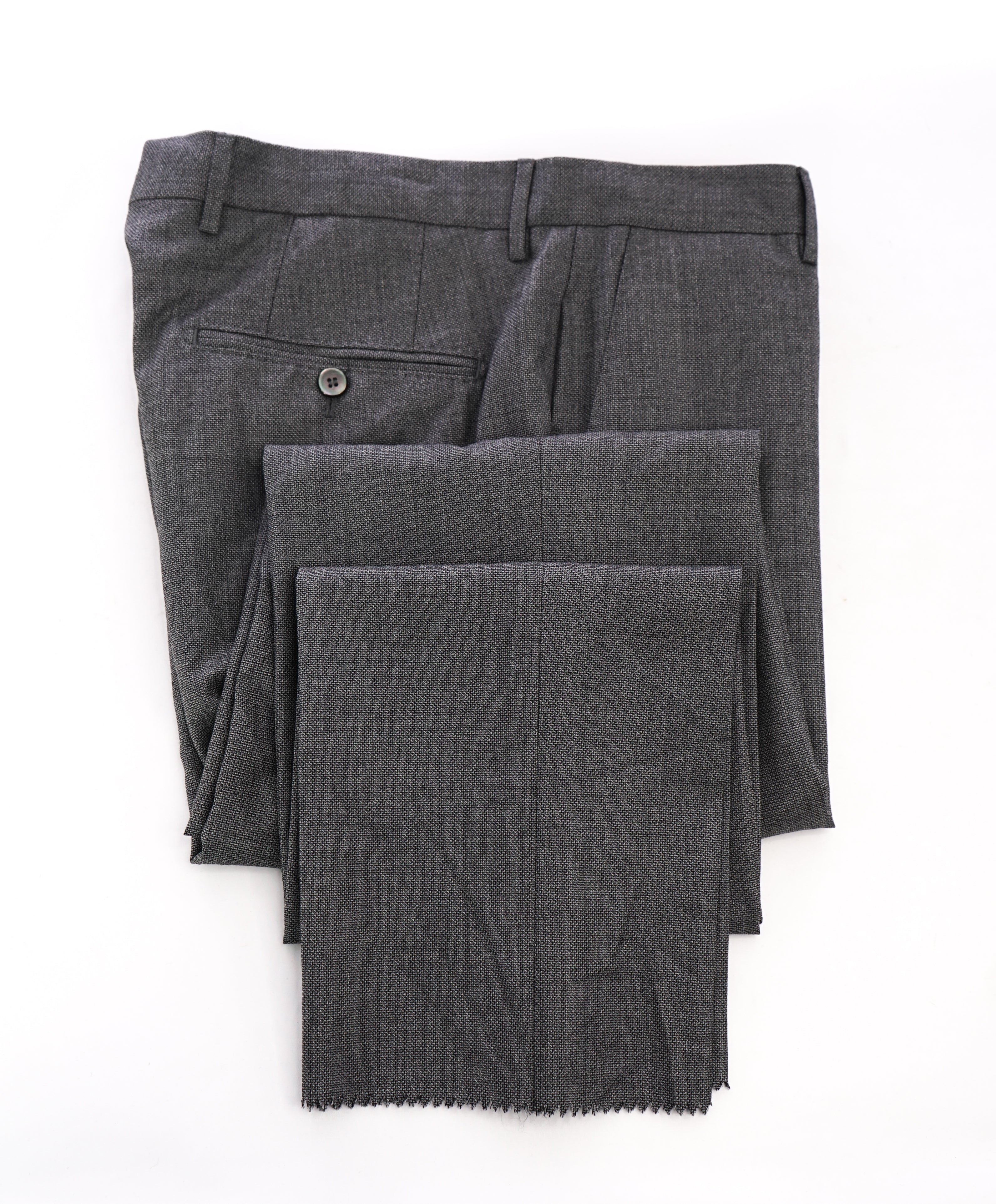"HUGO BOSS - Textured Gray ""T- Hacer/Gage"" Pearl Button Flat Front Dress Pants - 32W"
