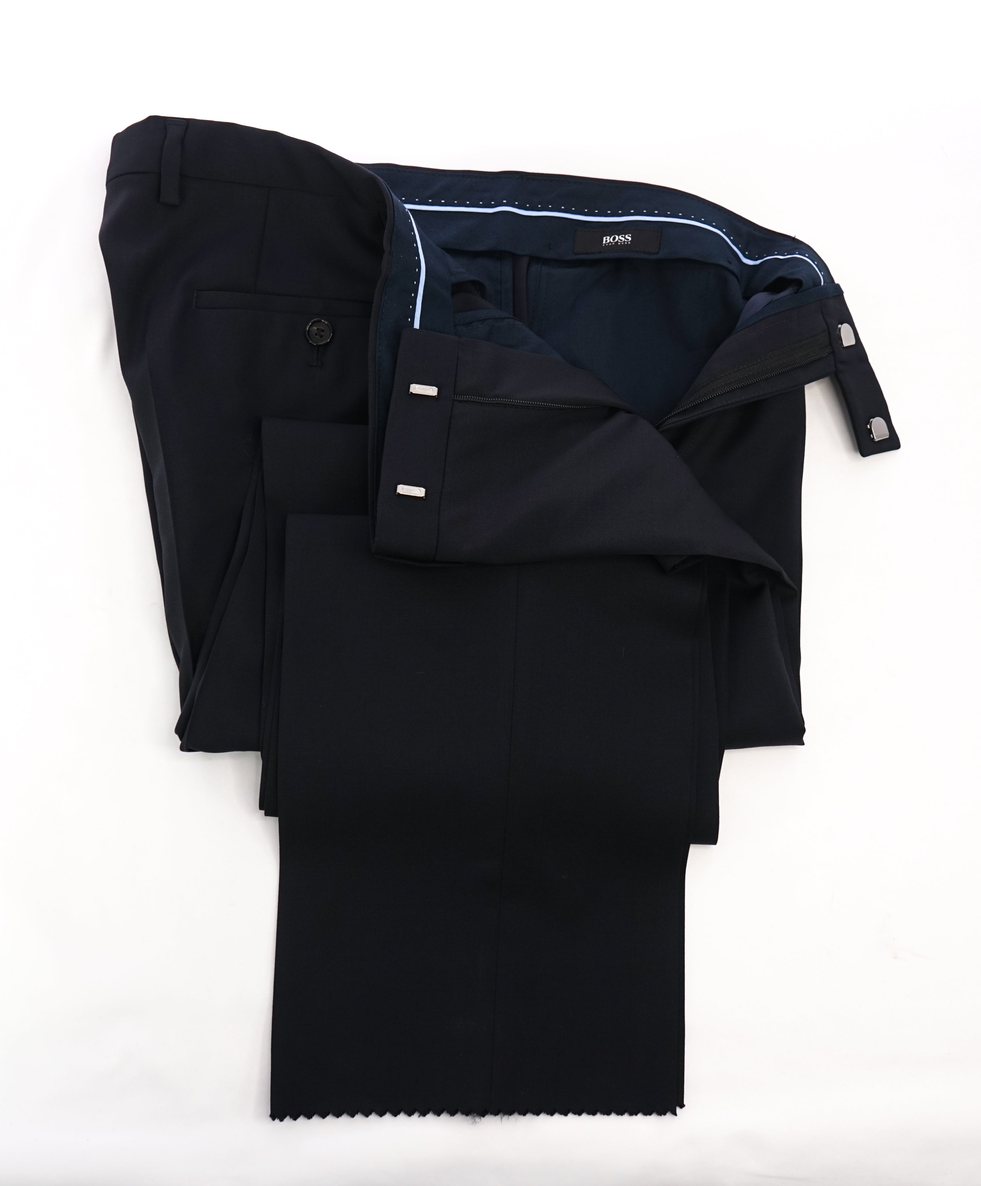 "HUGO BOSS - Navy Solid ""Sharp1 US"" Flat Front Dress Pants - 35W"