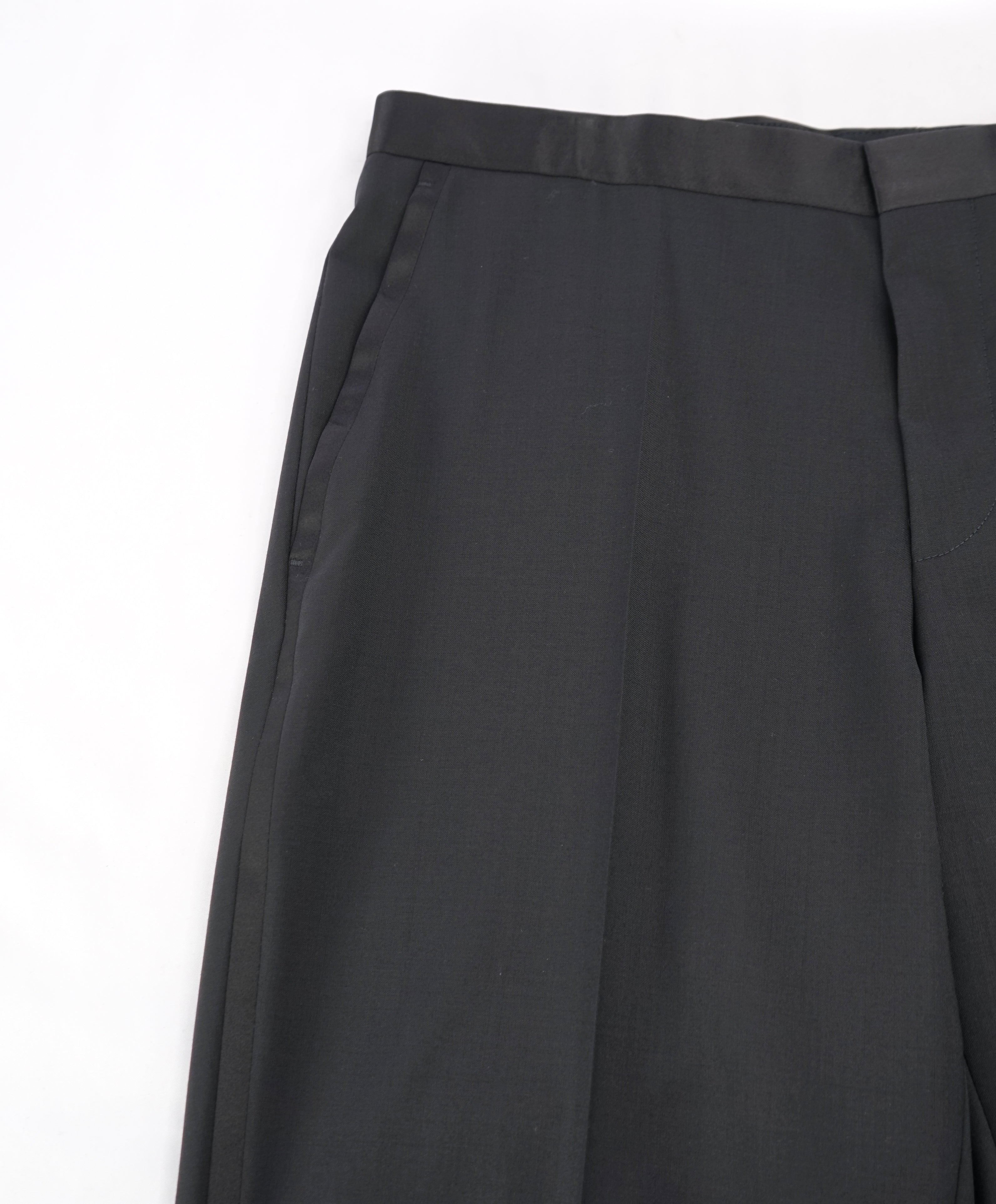 "HUGO BOSS - Solid Black ""Slim"" Flat Front Tuxedo Dress Pants - 32W"