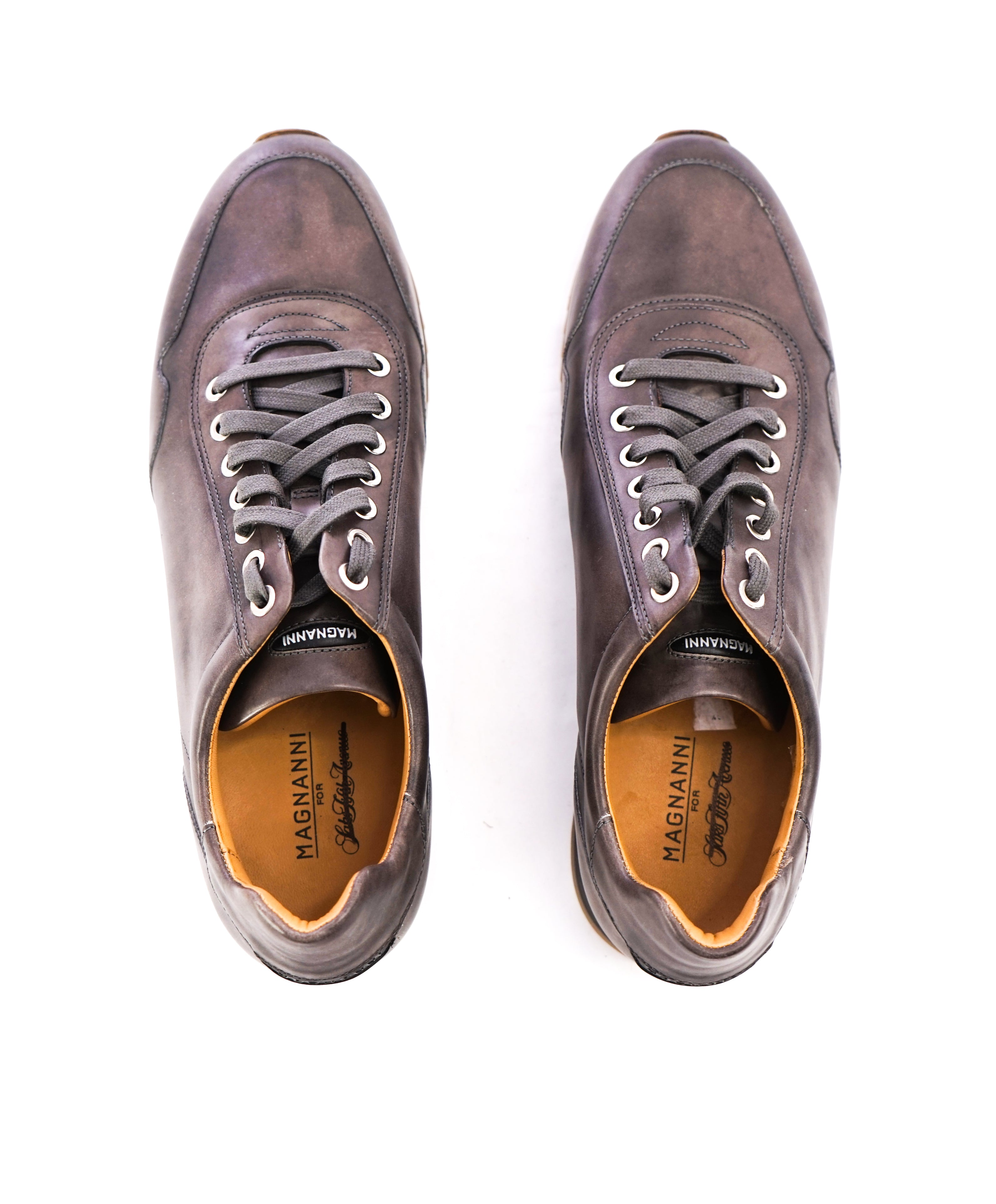 MAGNANNI - Lace Up Gray Patina Leather Sneakers W Rubber Sole - 9