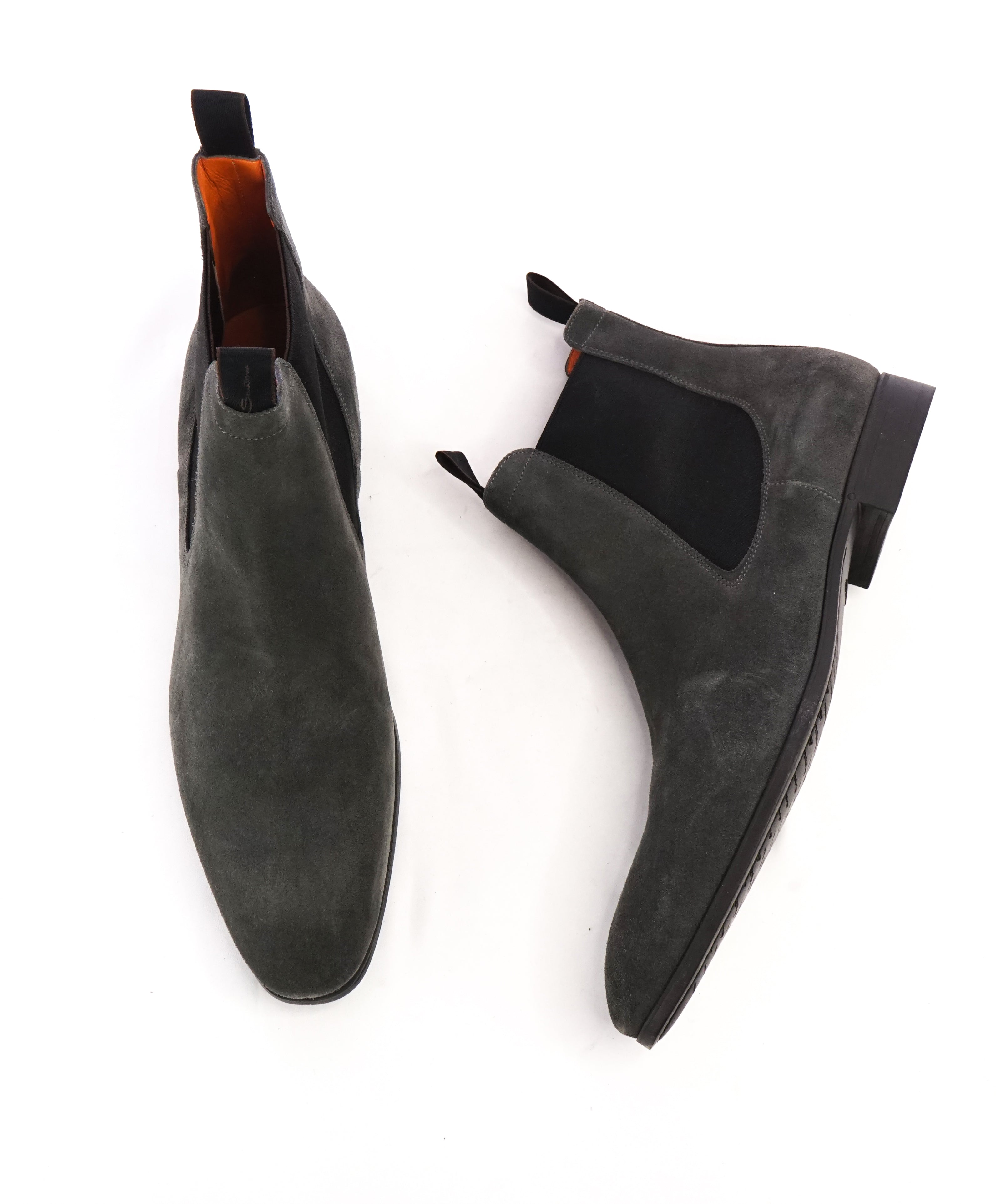 SANTONI - Gray Suede Ankle Chelsea Boot W Logo Sole & Straps - 12