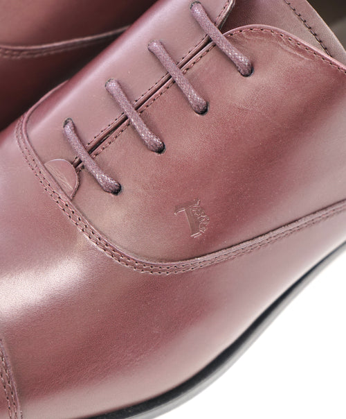 "TOD'S - Burgundy Oxblood Leather Oxfords ""LOGO"" Leather Sole- 13US"