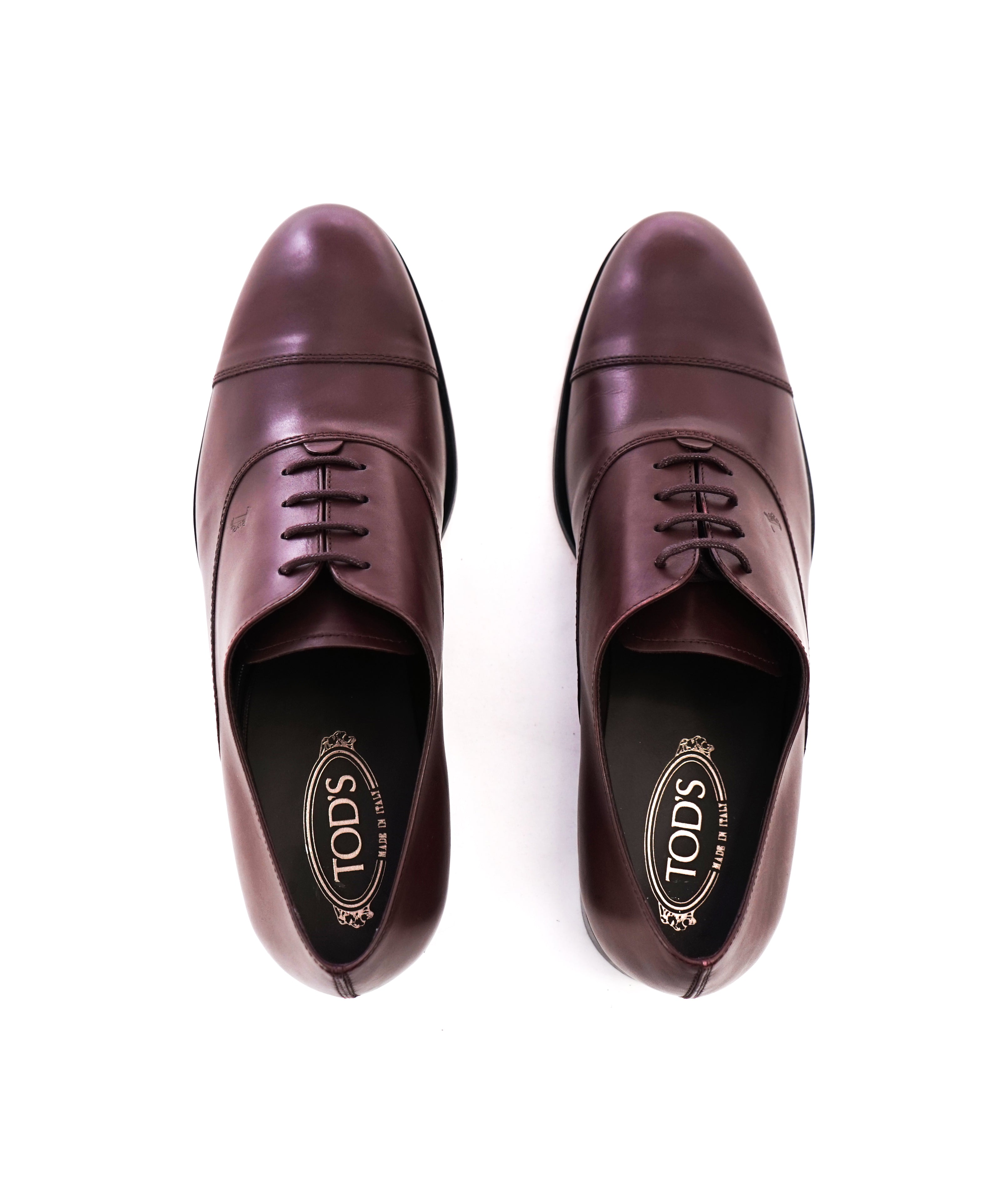 "TOD'S - Burgundy Oxblood Leather Oxfords ""LOGO"" Leather Sole- 11US"