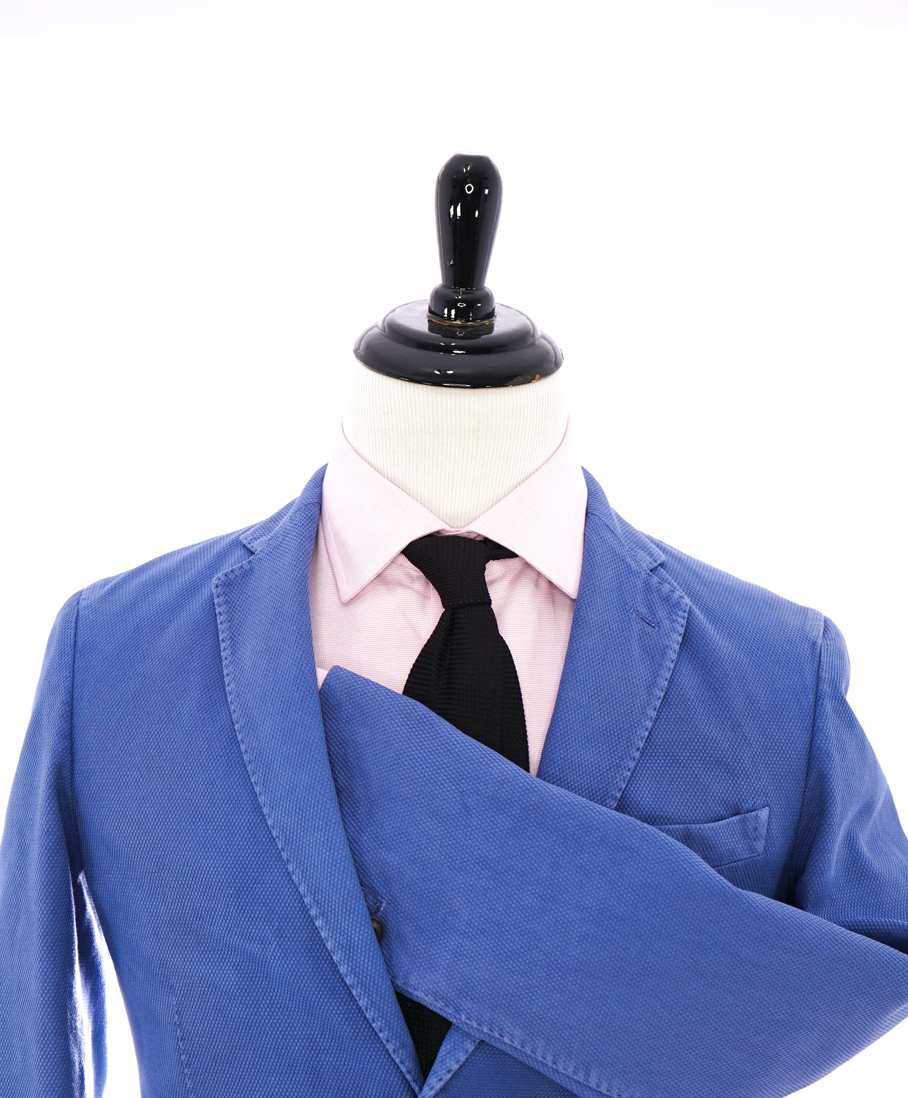 BOGLIOLI - Milano Semi-Lined Deconstructed Blue Textured Cotton Suit- 38R