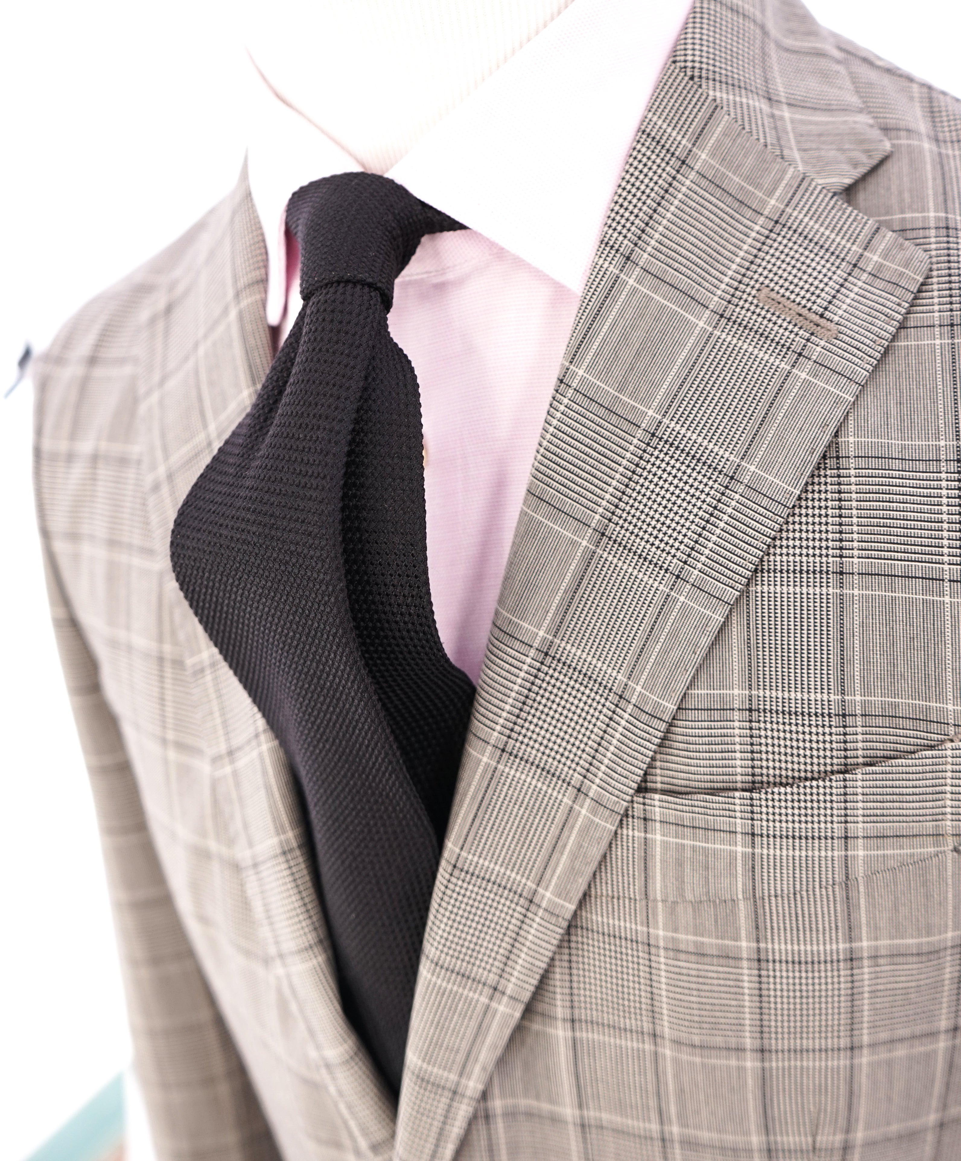 BOGLIOLI -Milano Semi-Lined Deconstructed Wool Gray/Beige Plaid Check Suit - 40R
