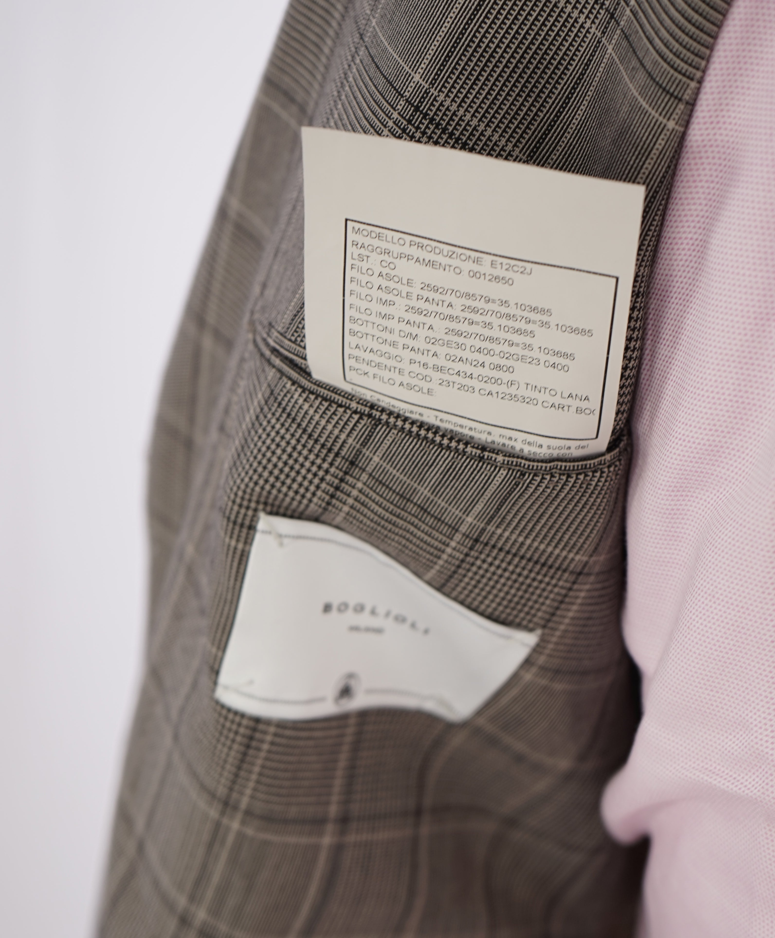 BOGLIOLI -Milano Semi-Lined Deconstructed Wool Gray/Beige Plaid Check Suit- 40R