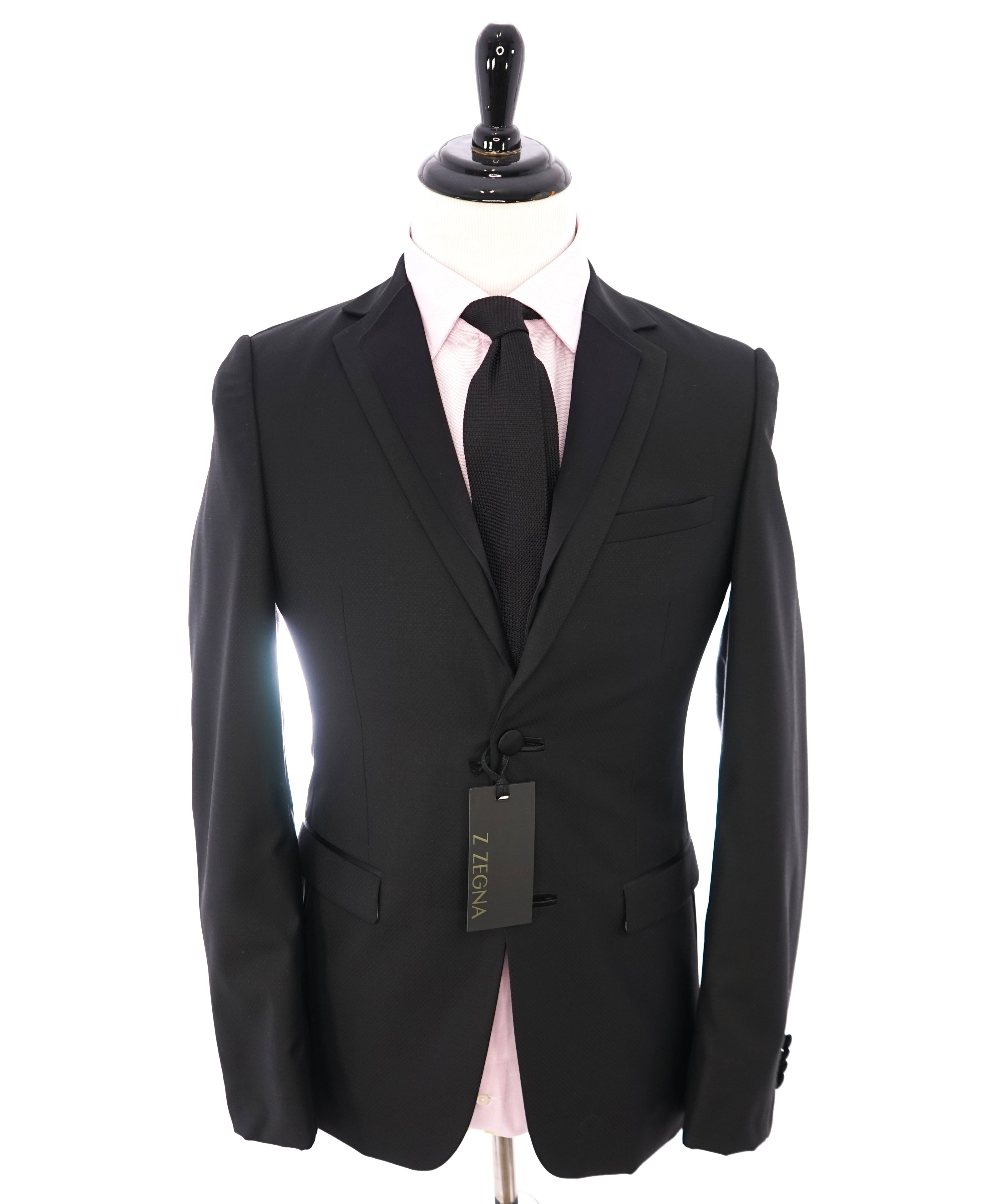 Z ZEGNA - Black Textured Fabric W Silk Lapel Drop 8 Wool Tuxedo Suit - 36R