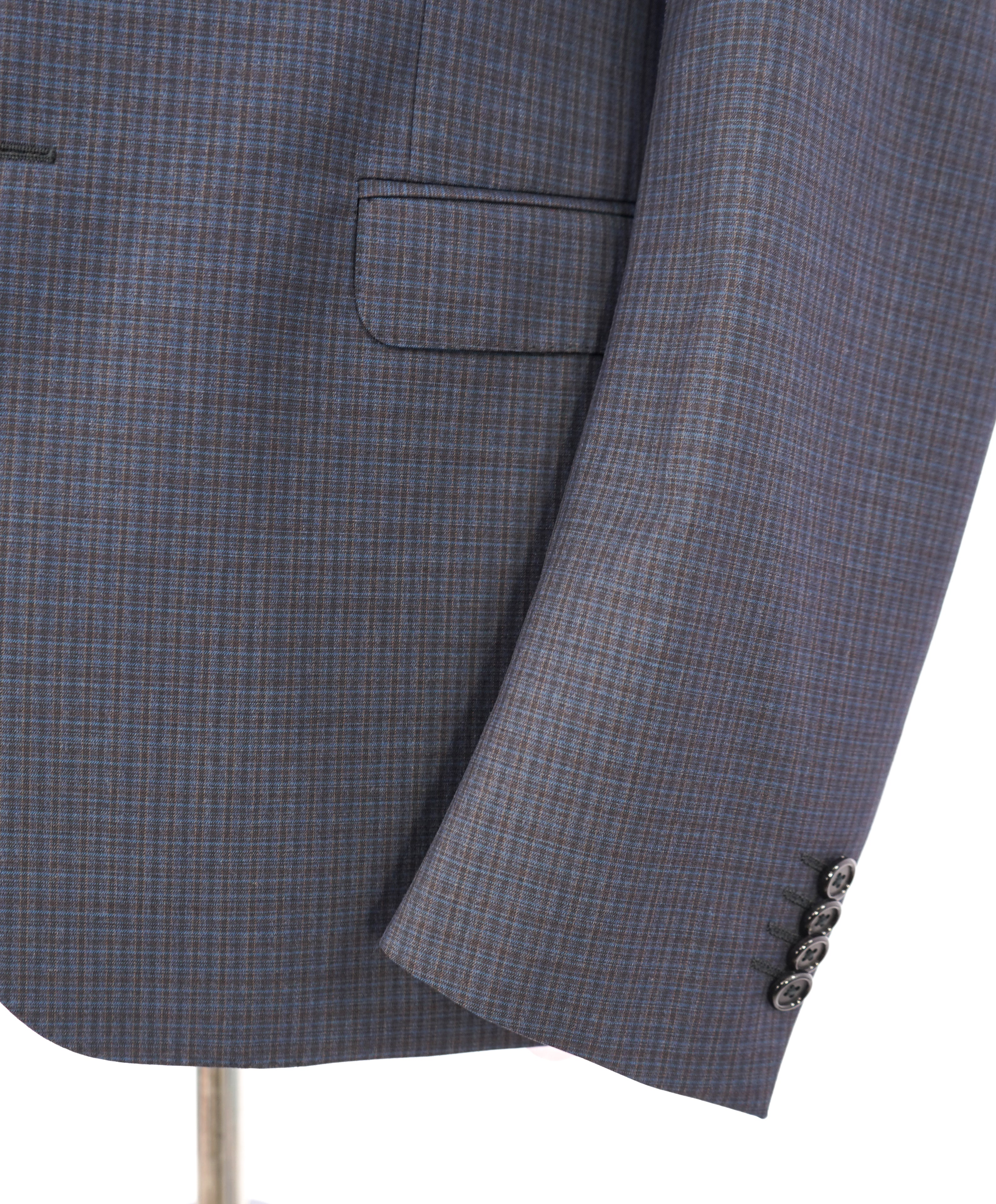 Z ZEGNA - Blue/Gray Multicolor Abstract Check Drop 8 Wool Suit - 40S